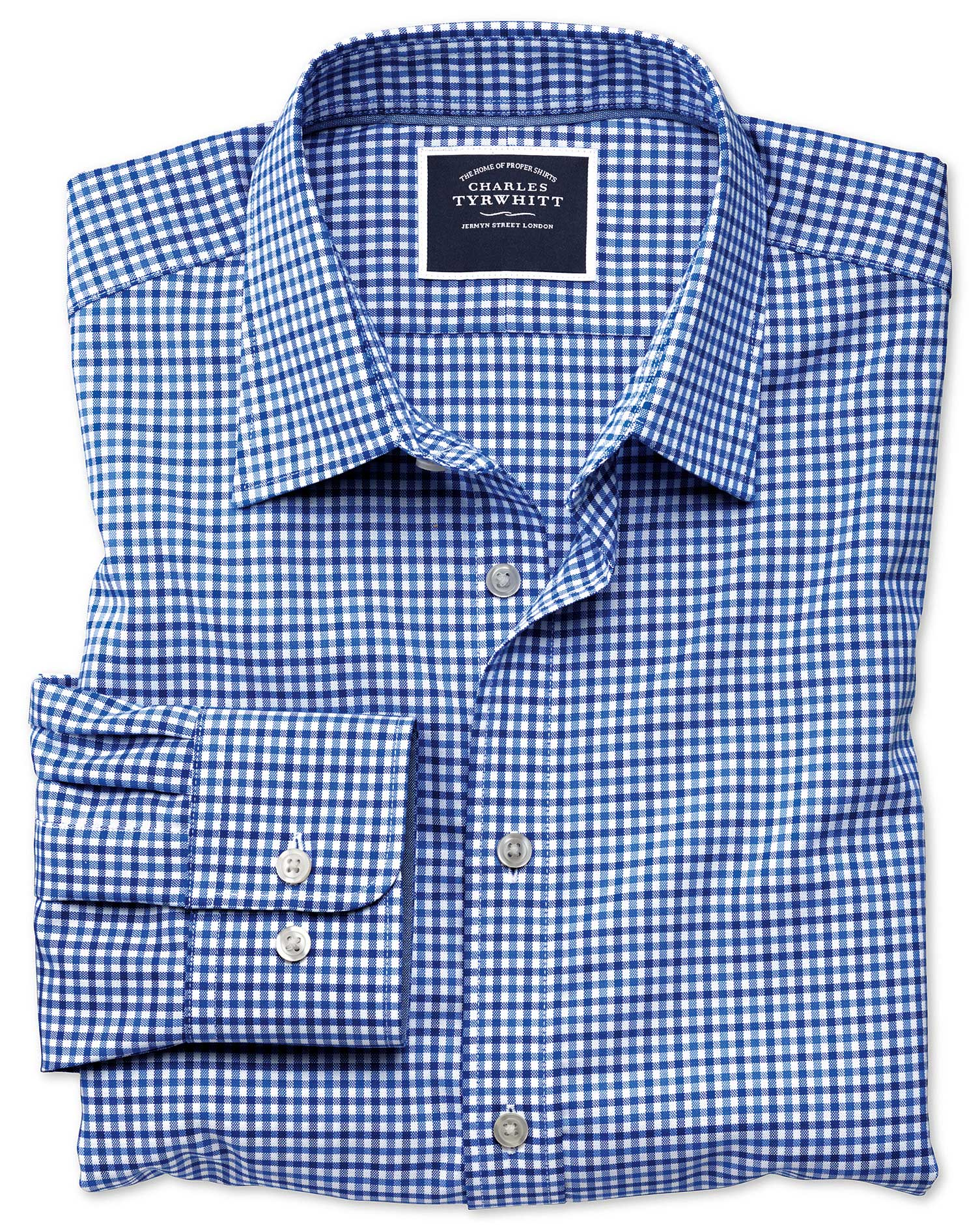 slim fit non-iron sky and blue gingham oxford cotton casual shirt single cuff size medium by charles tyrwhitt