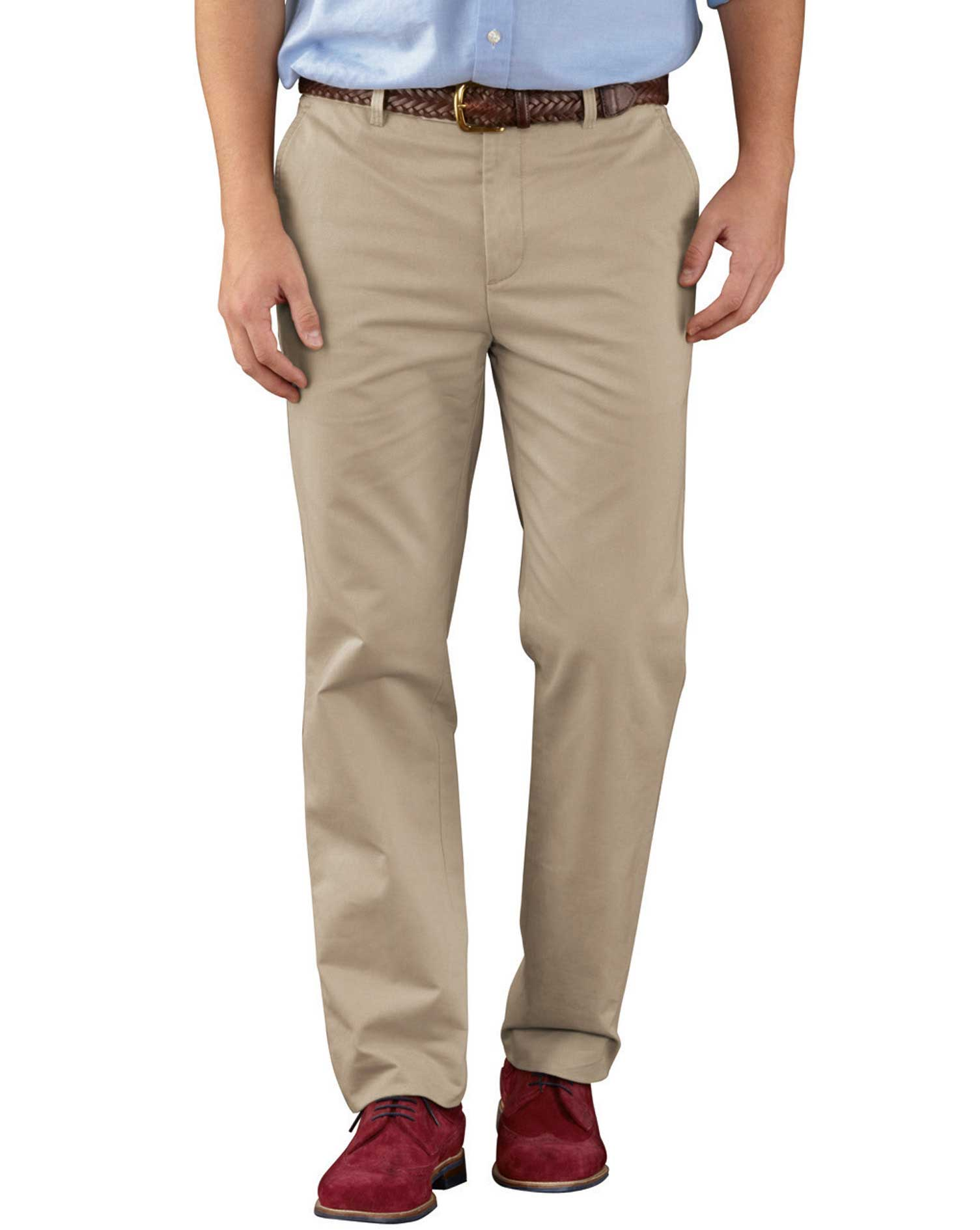 Stone Slim Fit Flat Front Weekend Cotton Chino Trousers Size W38 L38 by Charles Tyrwhitt