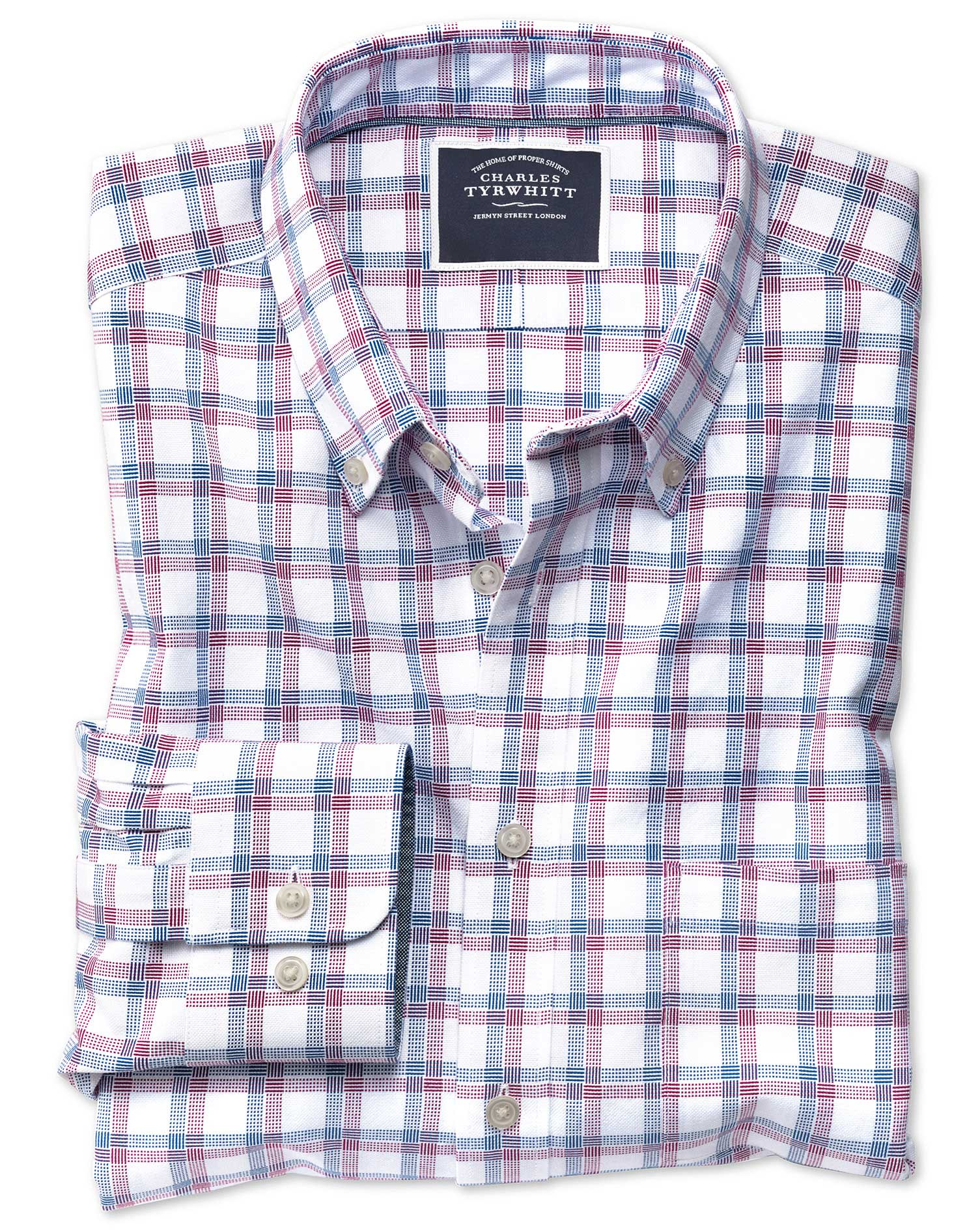 Extra Slim Fit Red and Navy Check Washed Oxford Cotton Shirt Single Cuff Size XS by Charles Tyrwhitt