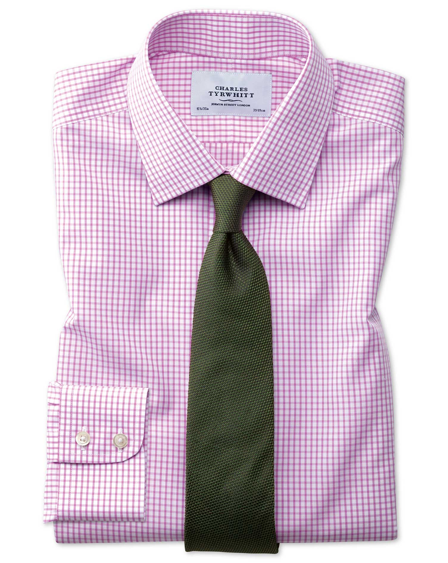Classic Fit Non-Iron Grid Check Pink Cotton Formal Shirt Single Cuff Size 16/35 by Charles Tyrwhitt