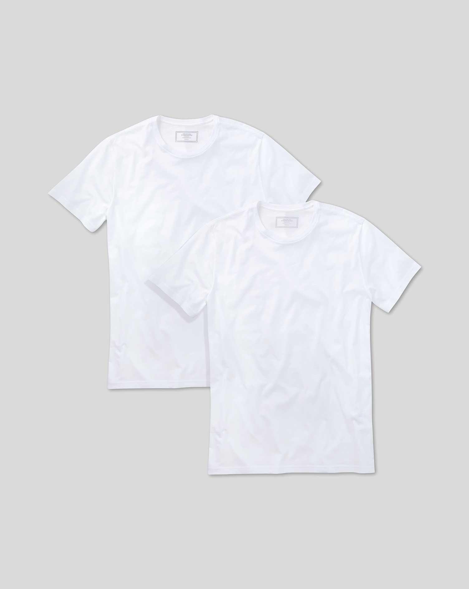 Image of Charles Tyrwhitt 2 Pack White Cotton Undershirt T-Shirts Size Large by Charles Tyrwhitt