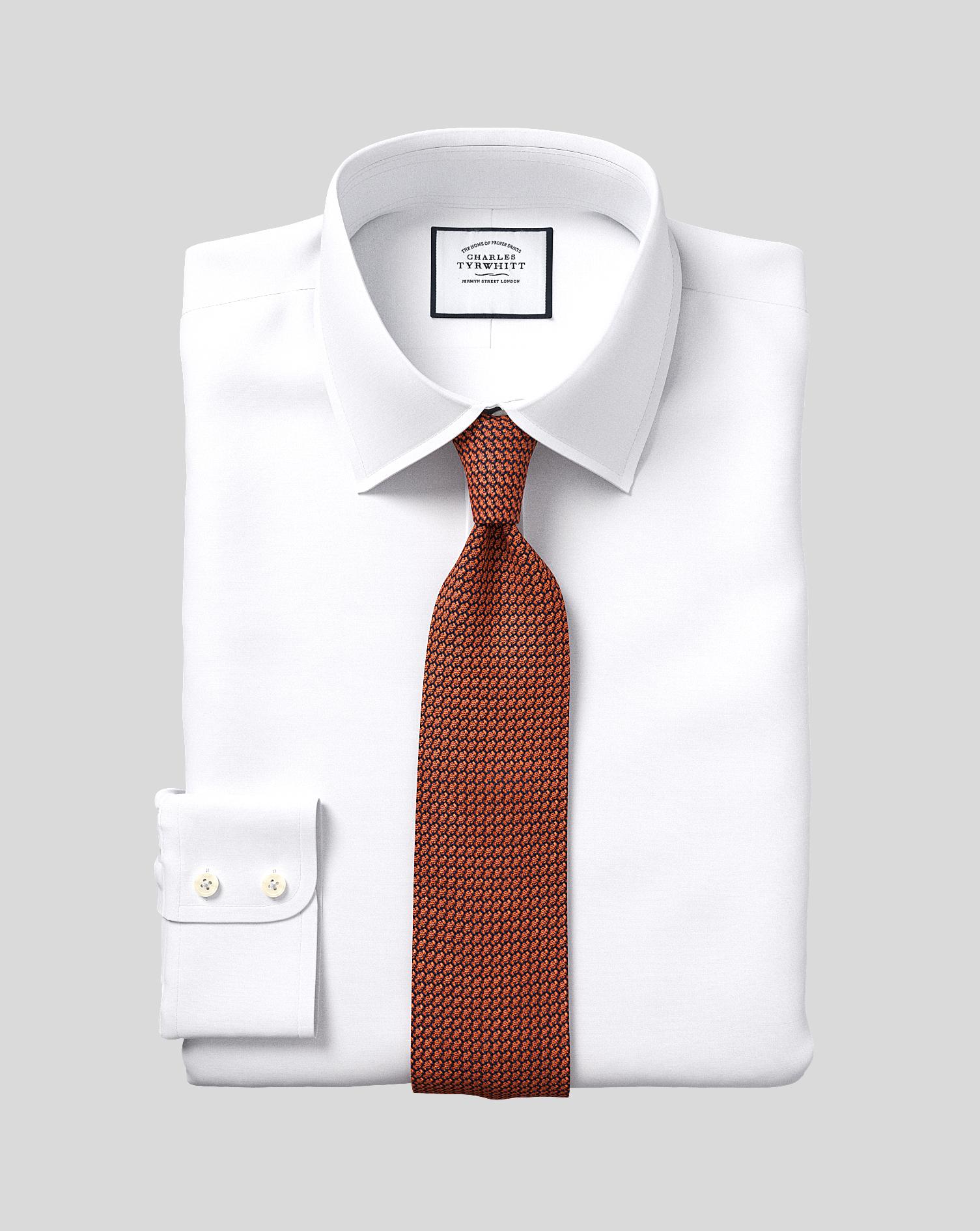 Classic Fit White Egyptian Cotton Poplin Shirt