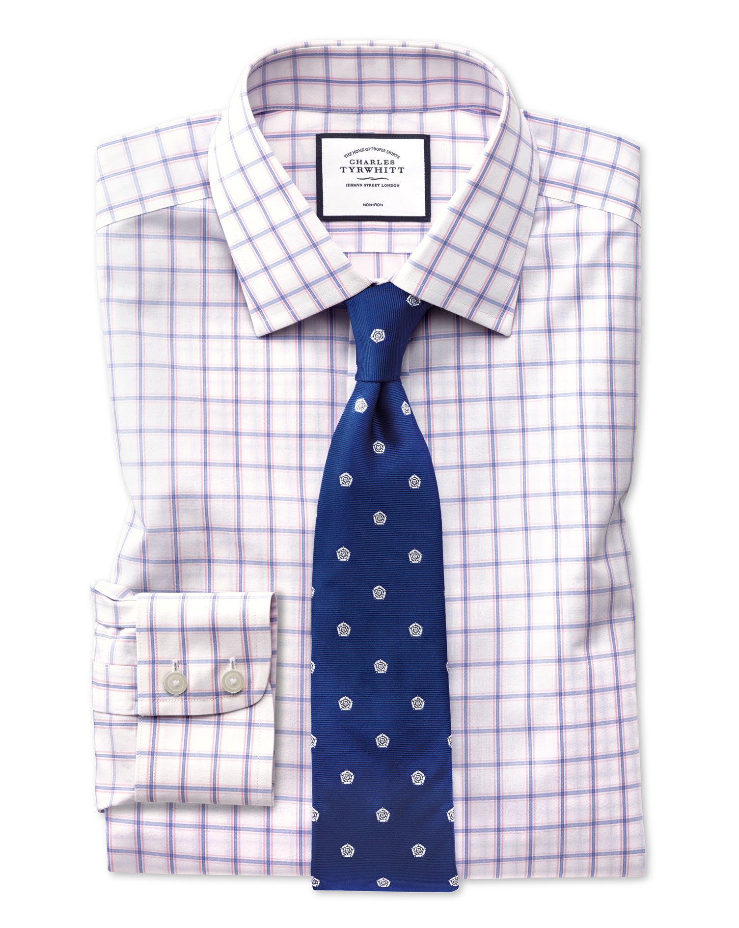 Classic Fit Non-Iron Multi Check Pink Cotton Formal Shirt Single Cuff Size 17.5/35 by Charles Tyrwhi