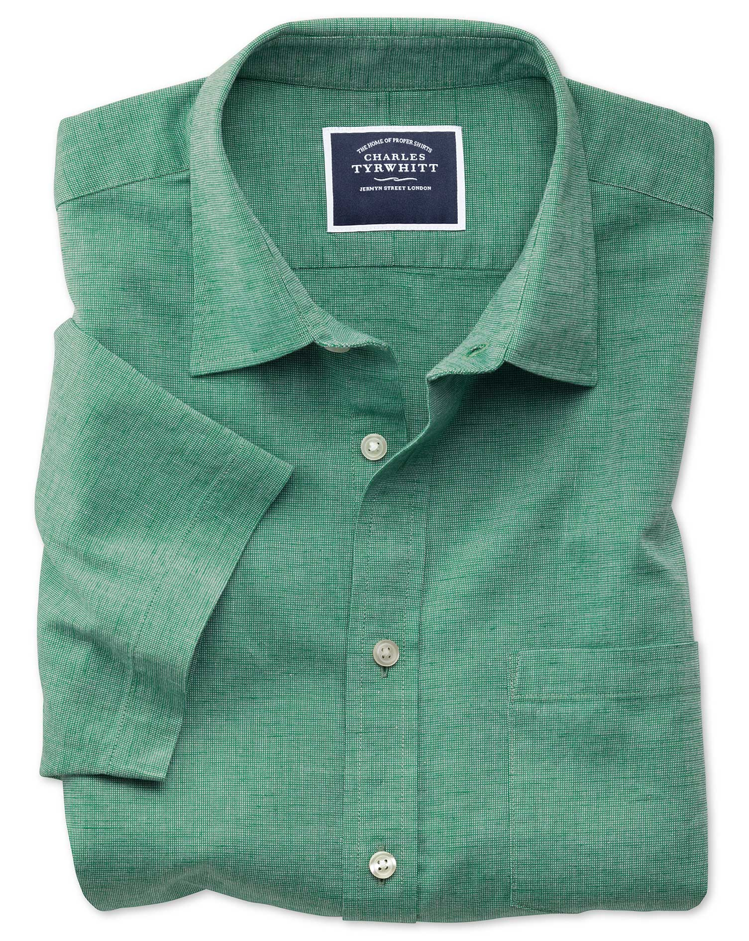 Classic Fit Cotton Linen Short Sleeve Green Plain Shirt Single Cuff Size Medium by Charles Tyrwhitt