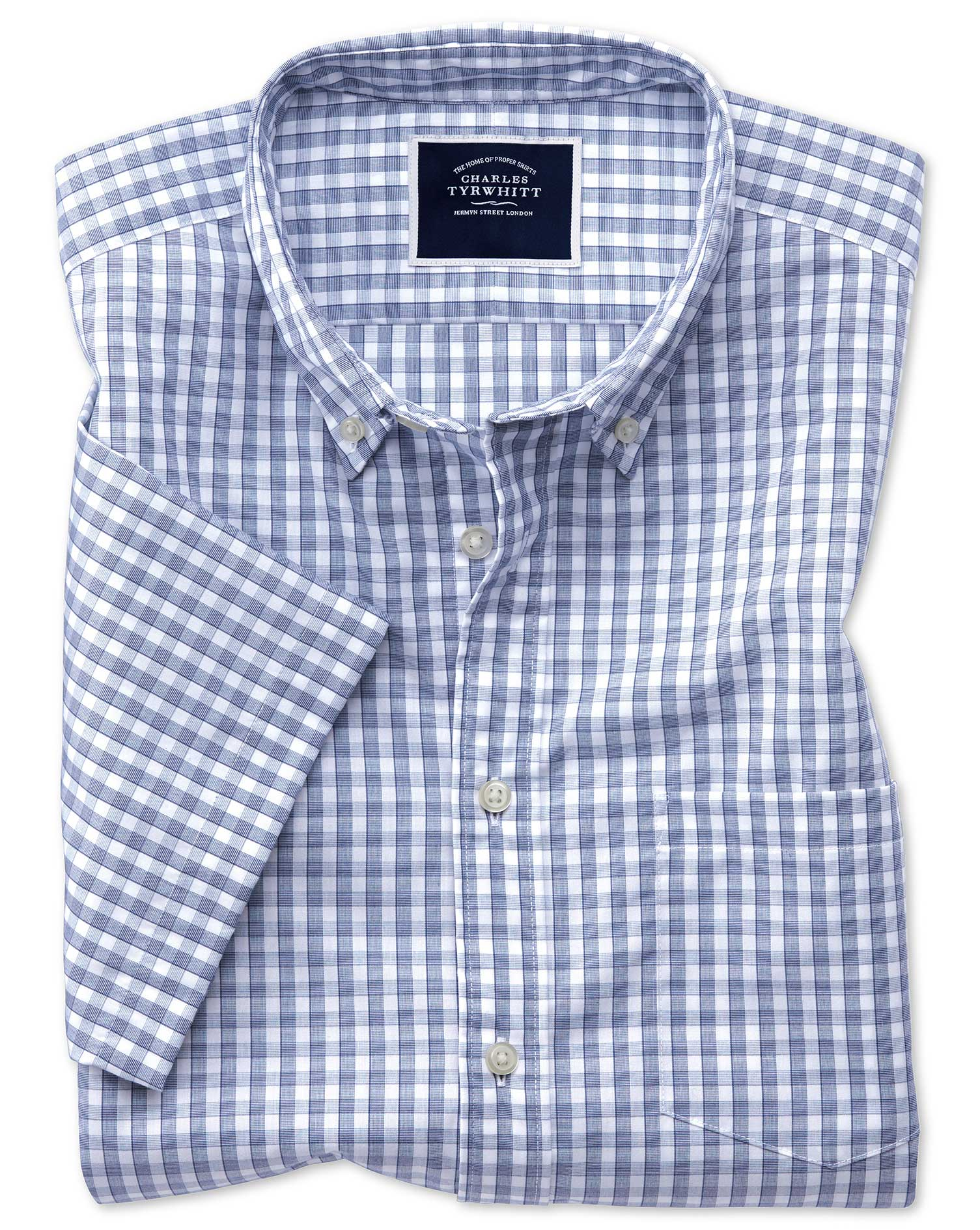 Slim Fit Navy Short Sleeve Gingham Soft Washed Non-Iron Tyrwhitt Cool Cotton Shirt Single Cuff Size