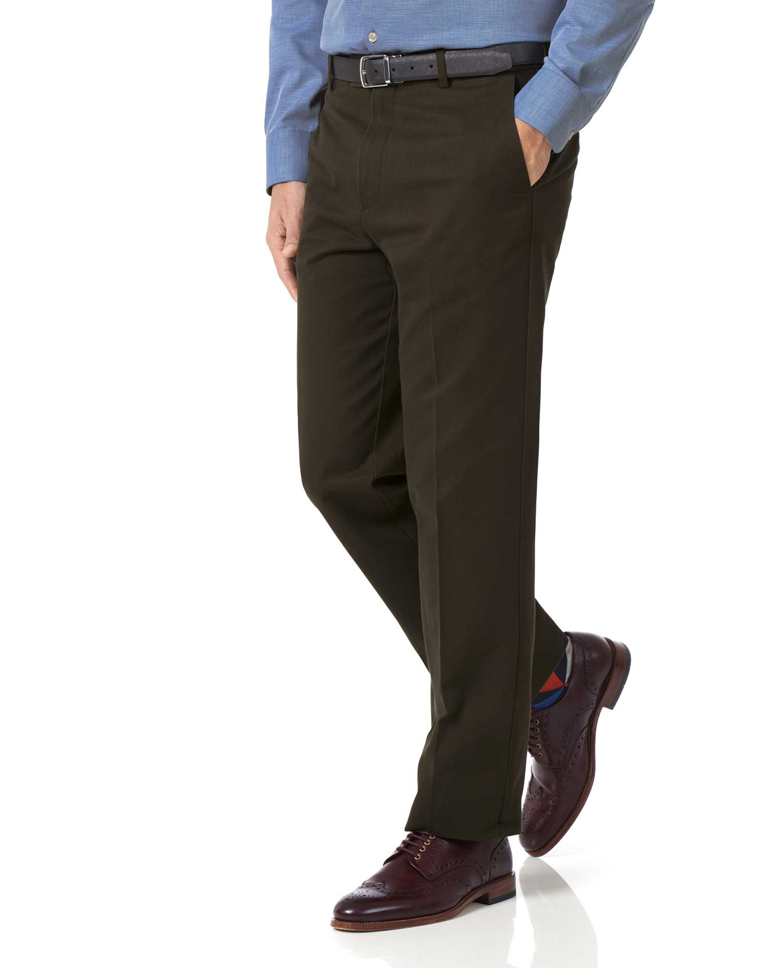 Brown Classic Fit Flat Front Non-Iron Cotton Chino Trousers Size W36 L30 by Charles Tyrwhitt
