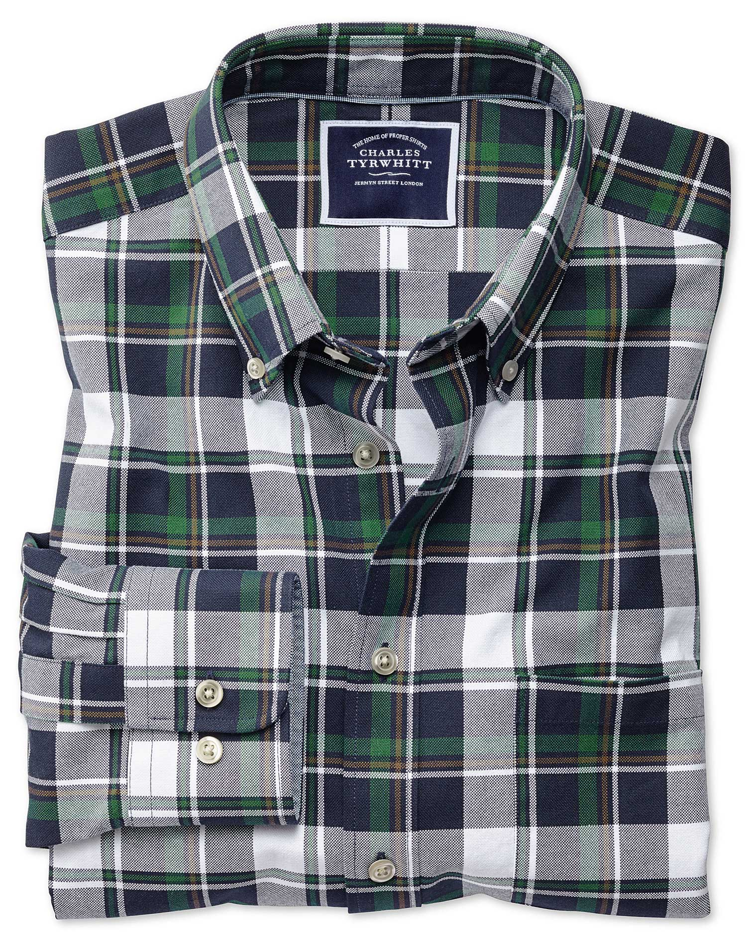 Extra Slim Fit Navy and Green Large Check Washed Oxford Cotton Shirt Single Cuff by Charles Tyrwhitt