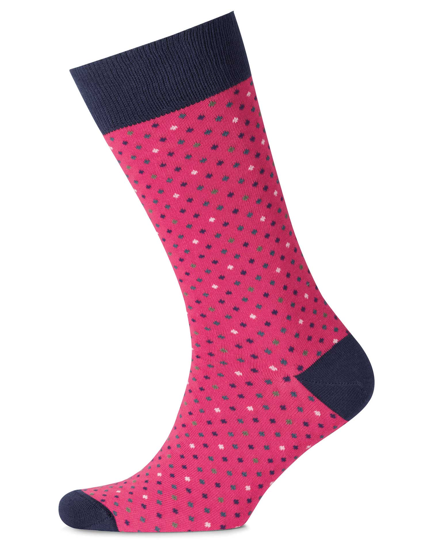 Pink Multi Dot Socks Size Large by Charles Tyrwhitt