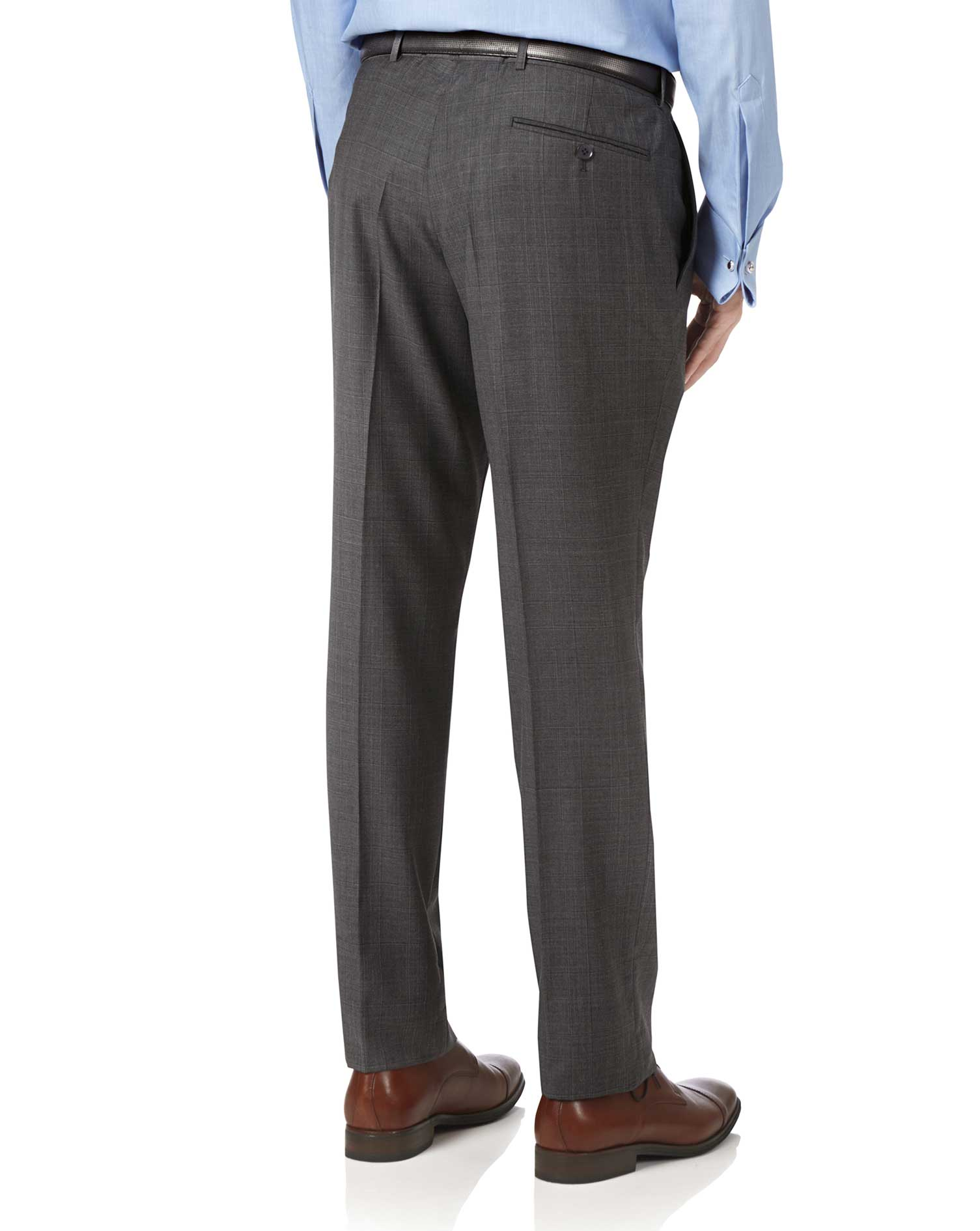 Grey slim fit luxury Italian check suit pants