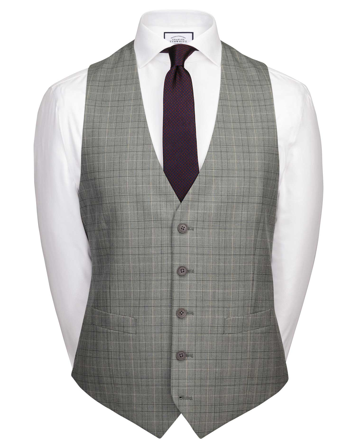Wool Grey Prince Of Wales Adjustable Fit Panama Business Suit Waistcoat