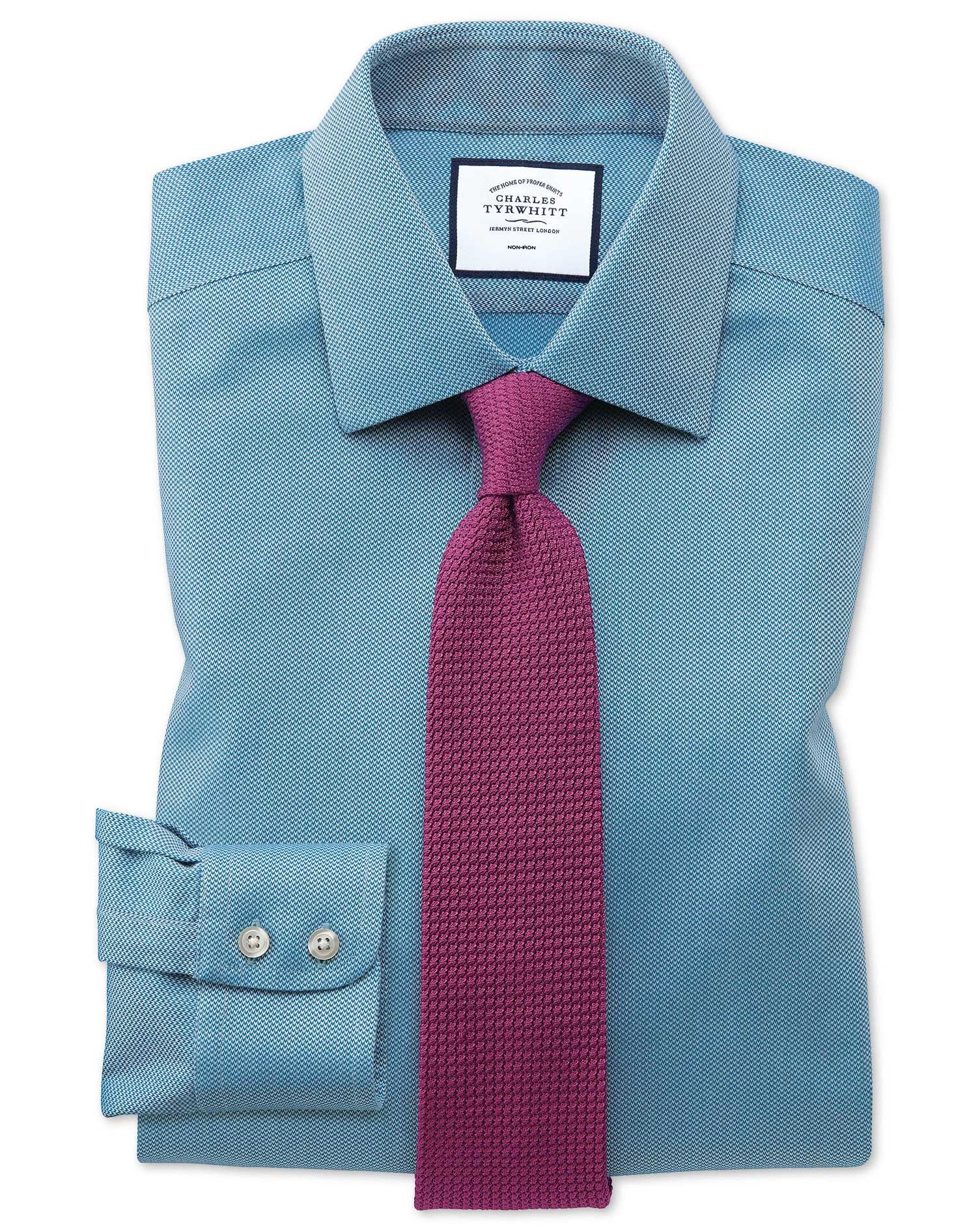 Classic Fit Non Iron Teal Arrow Weave Shirt Charles Tyrwhitt