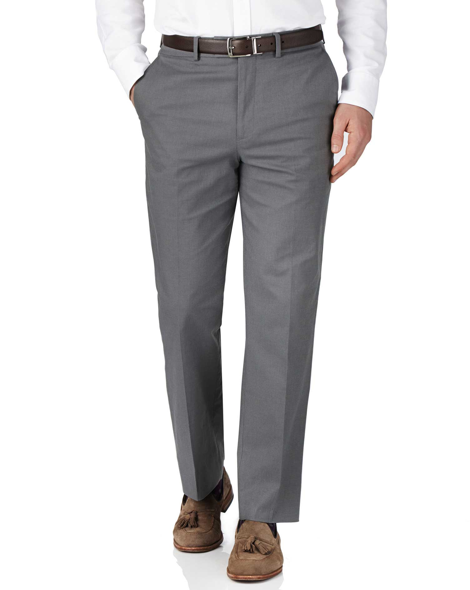 Grey Classic Fit Pin Dot Trousers Size W36 L30 by Charles Tyrwhitt