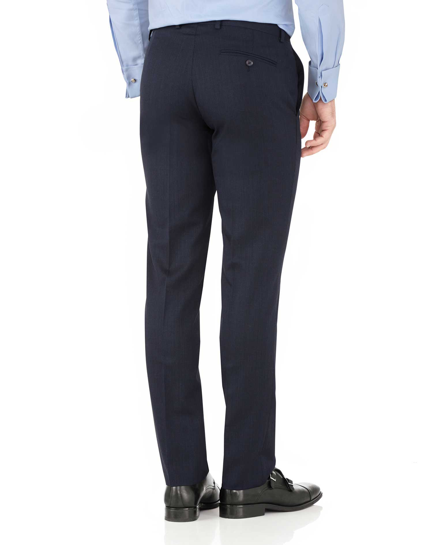 Navy slim fit hairline business suit pants