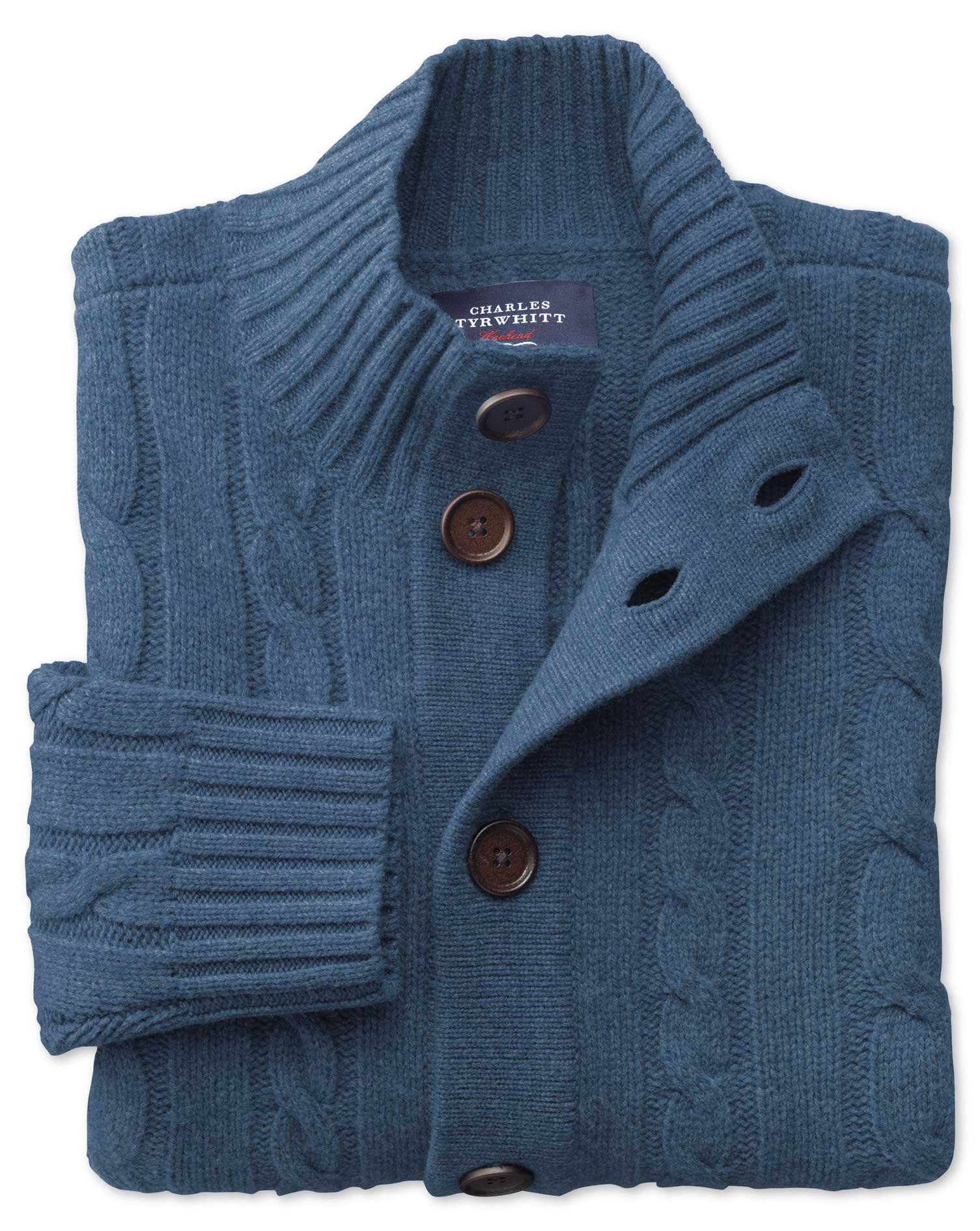 Indigo Lambswool Cable Cardigan Size XL by Charles Tyrwhitt