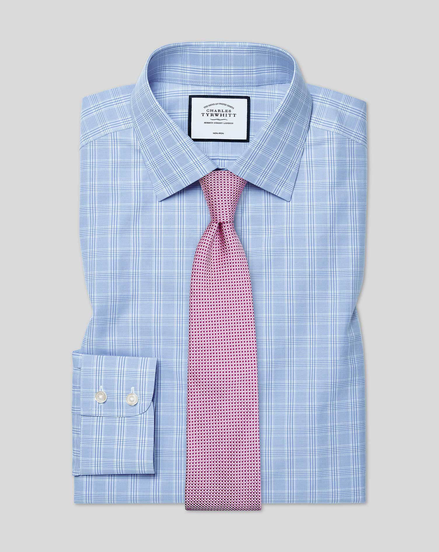 Cotton Classic Fit Non-Iron Sky Blue Prince Of Wales Check Shirt