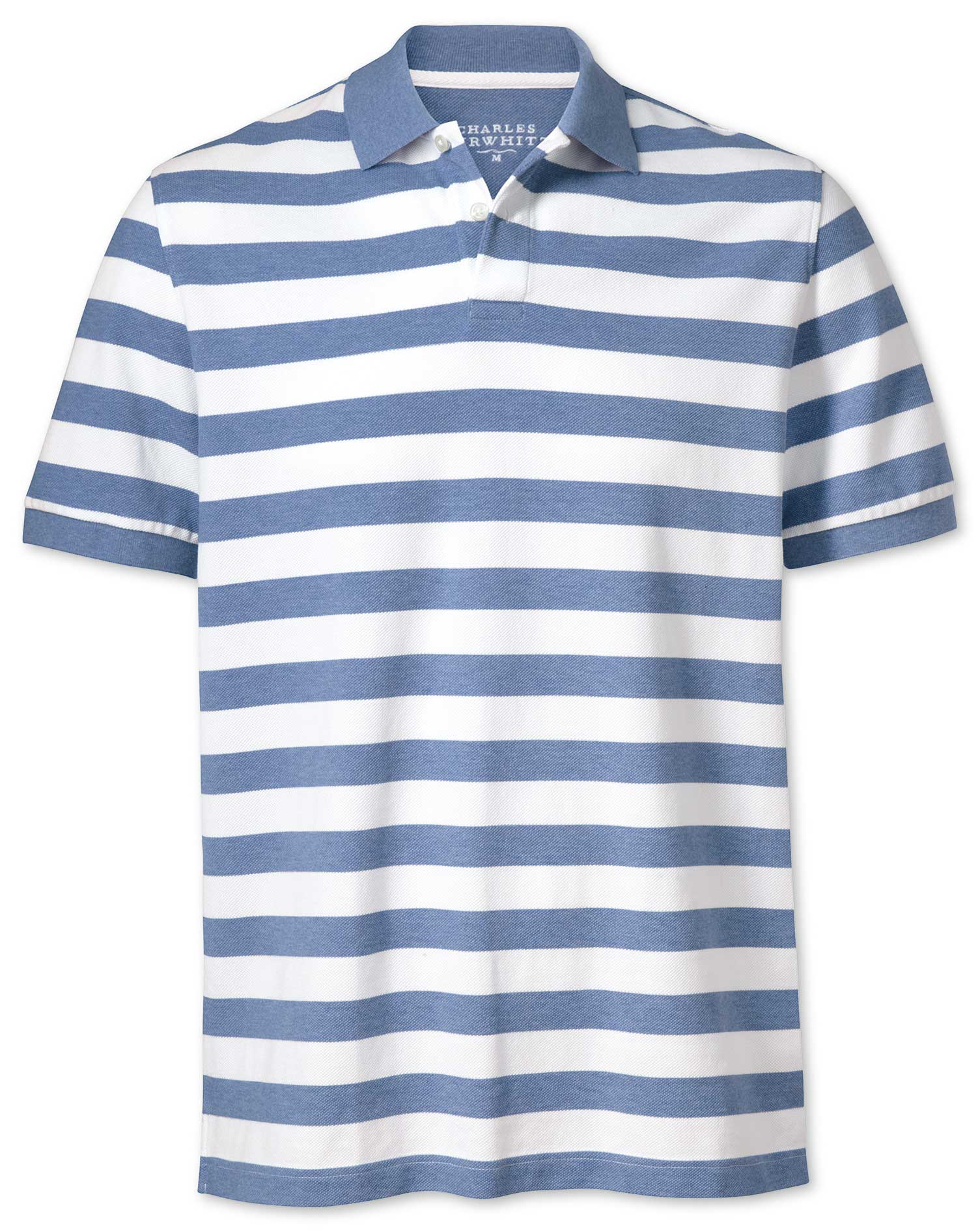 Sky Blue and White Stripe Pique Cotton Polo Size XS by Charles Tyrwhitt