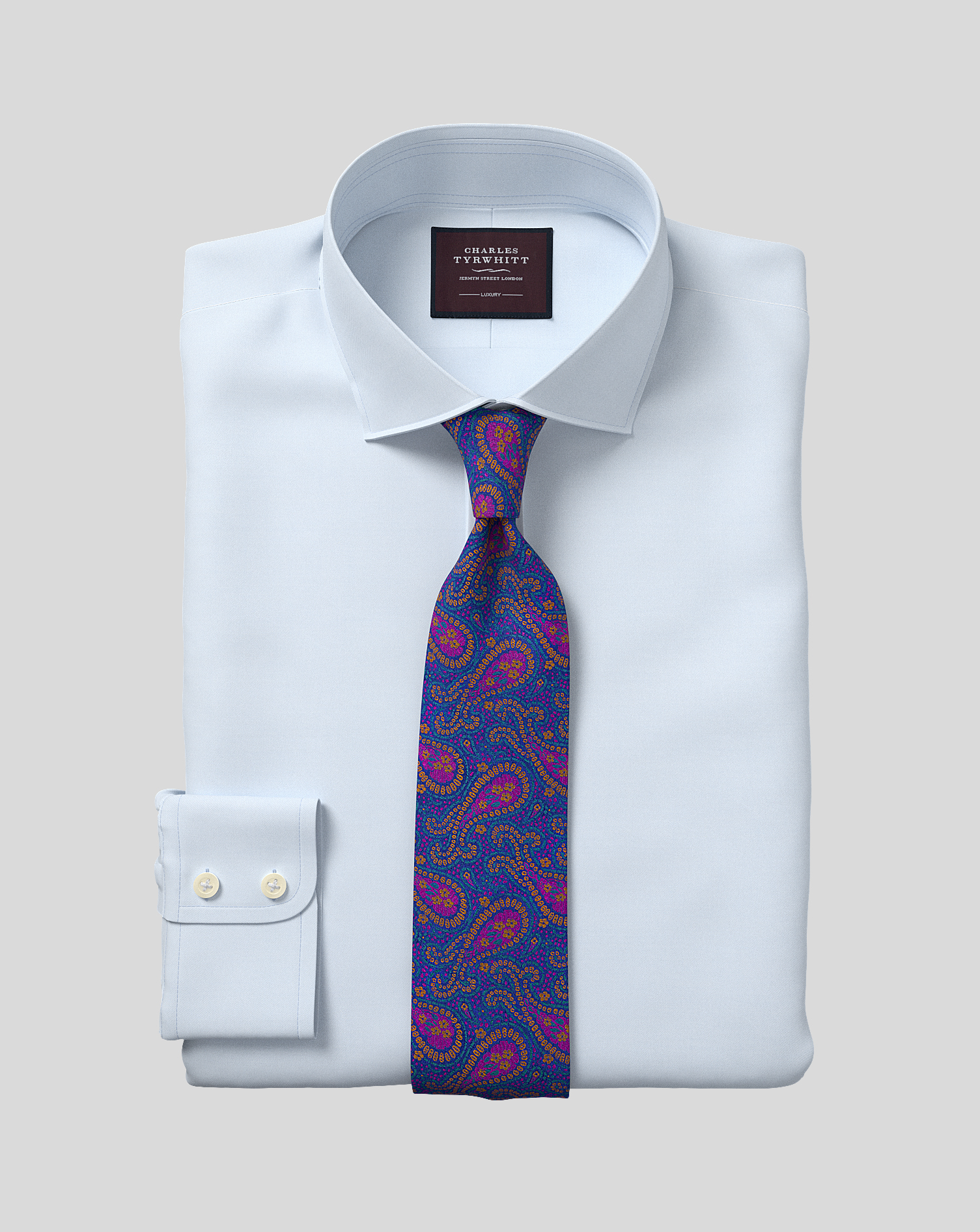 Slim Fit Sky Blue Luxury Twill Egyptian Cotton Formal Shirt Double Cuff Size 17/35 by Charles Tyrwhi