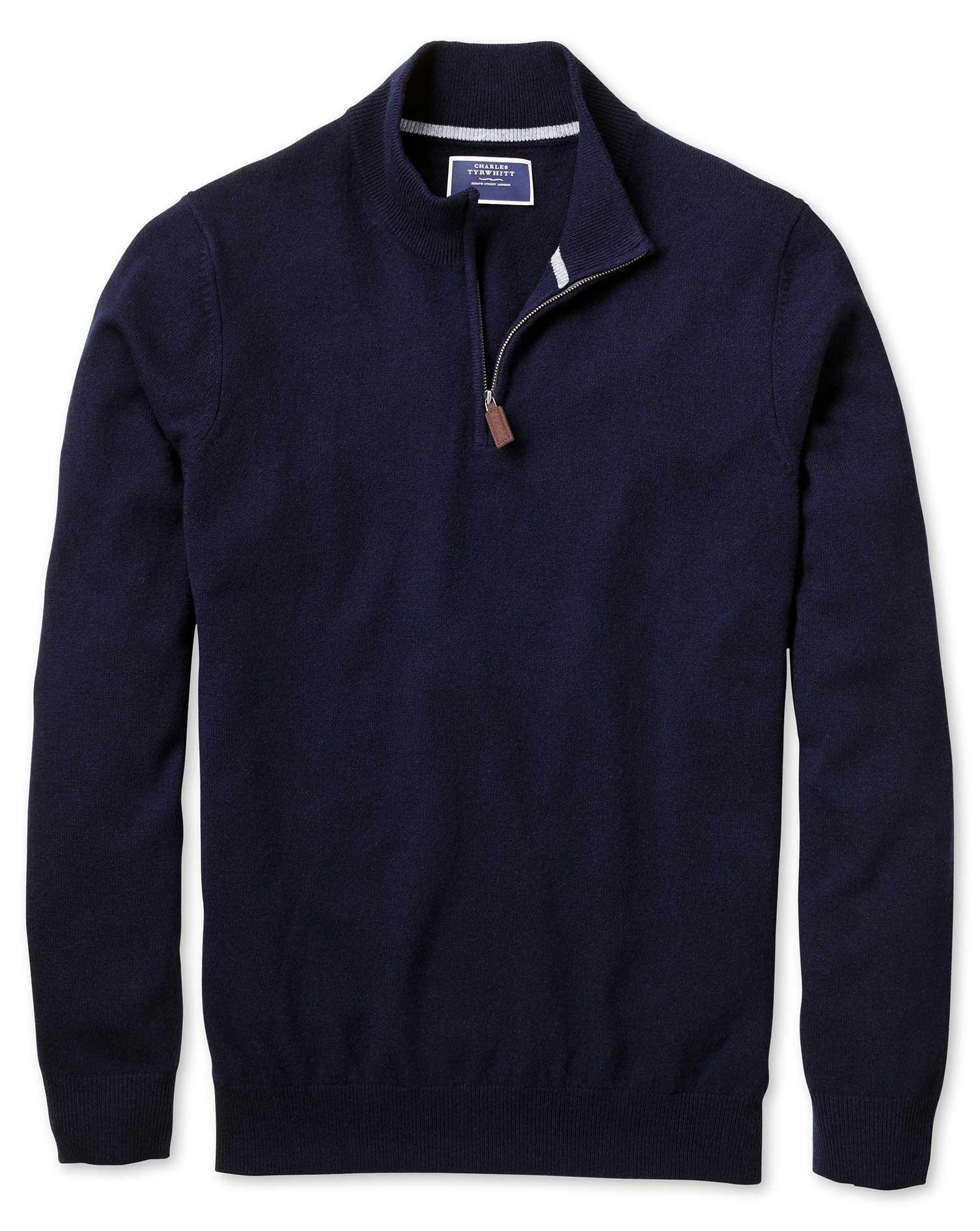 Navy Zip Neck Cashmere Jumper Size XXL by Charles Tyrwhitt