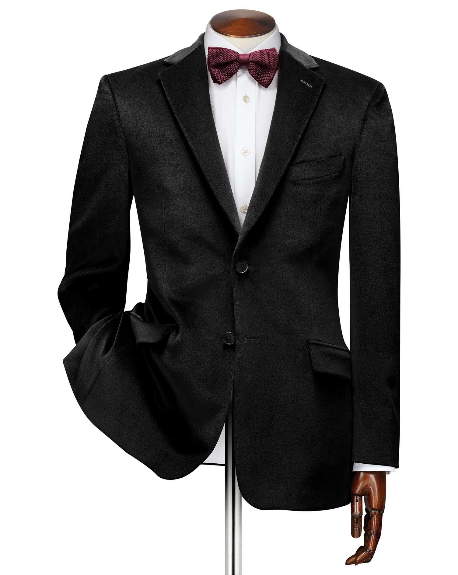 Slim Fit Black Velvet Cotton Jacket Size 46 Regular by Charles Tyrwhitt
