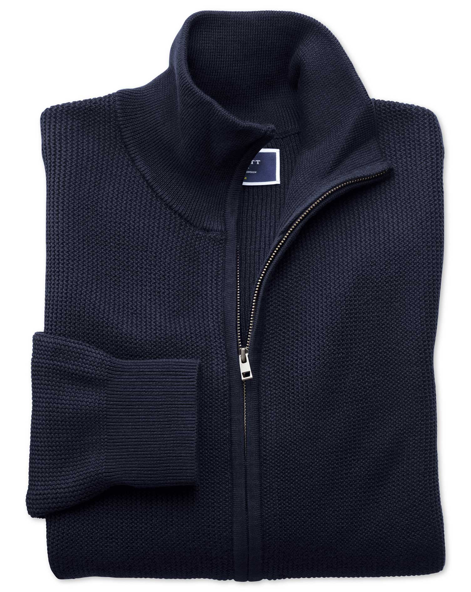 Navy Pima Cotton Textured Zip Through Cardigan Size XXXL by Charles Tyrwhitt