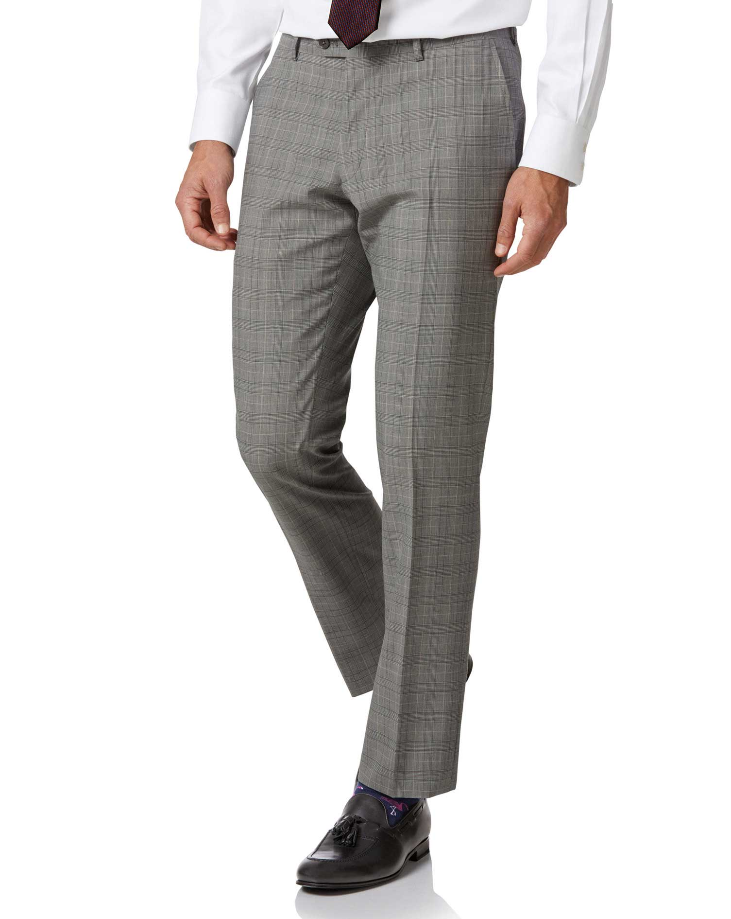 Grey Price Of Wales Slim Fit Panama Business Suit Trouser Size W34 L34 by Charles Tyrwhitt
