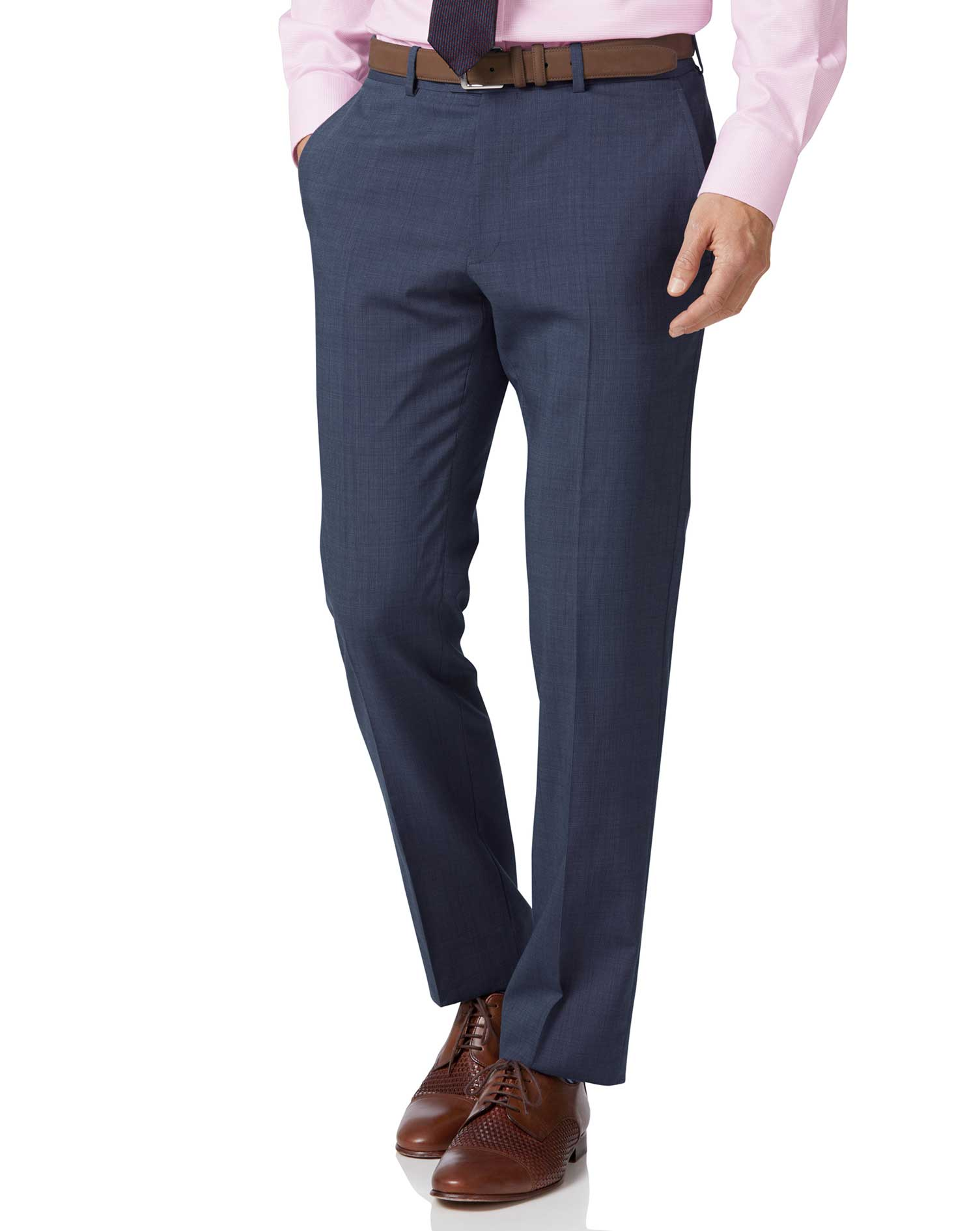 Light blue slim fit step weave suit pants