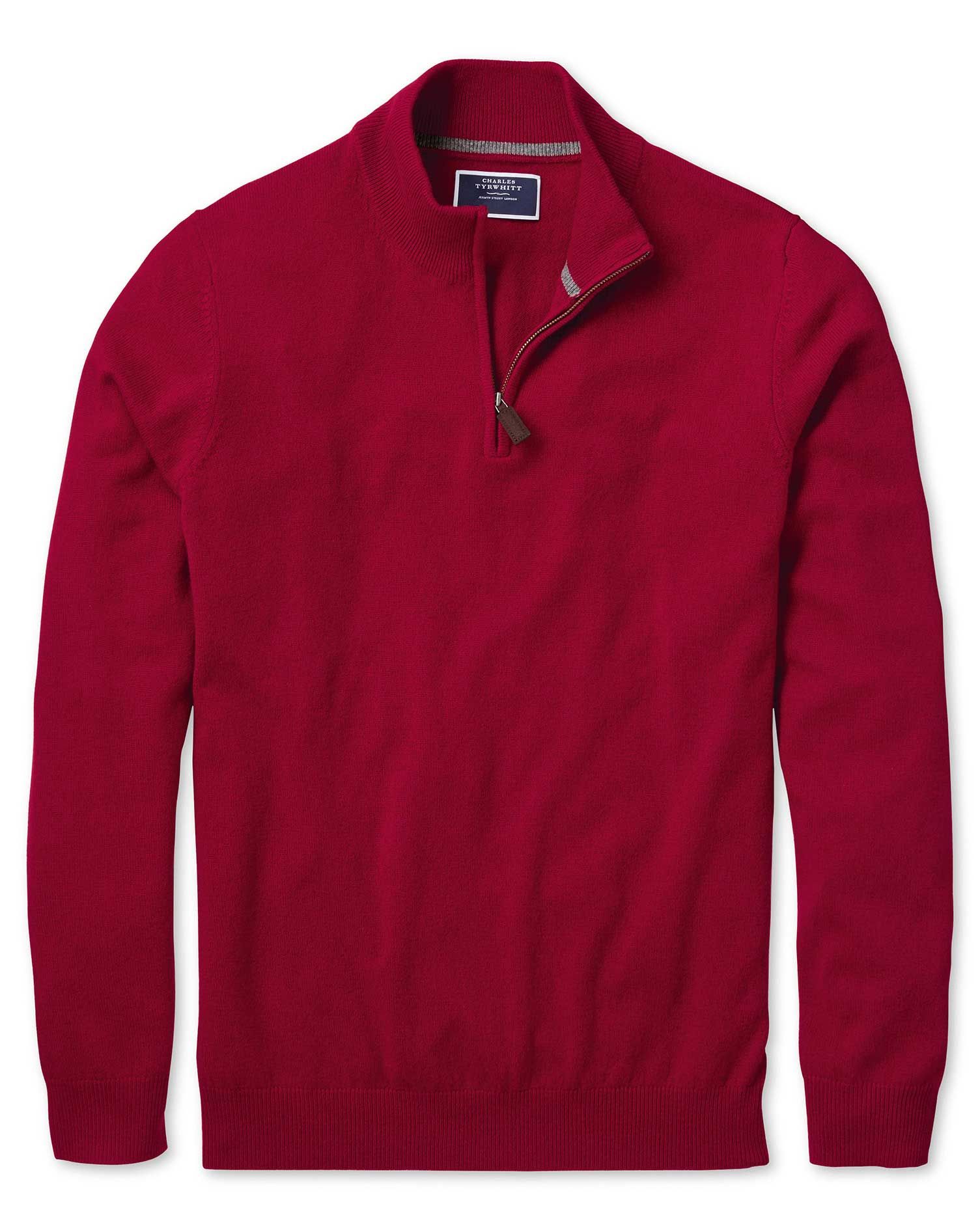 Red Zip Neck Cashmere Jumper Size Large by Charles Tyrwhitt