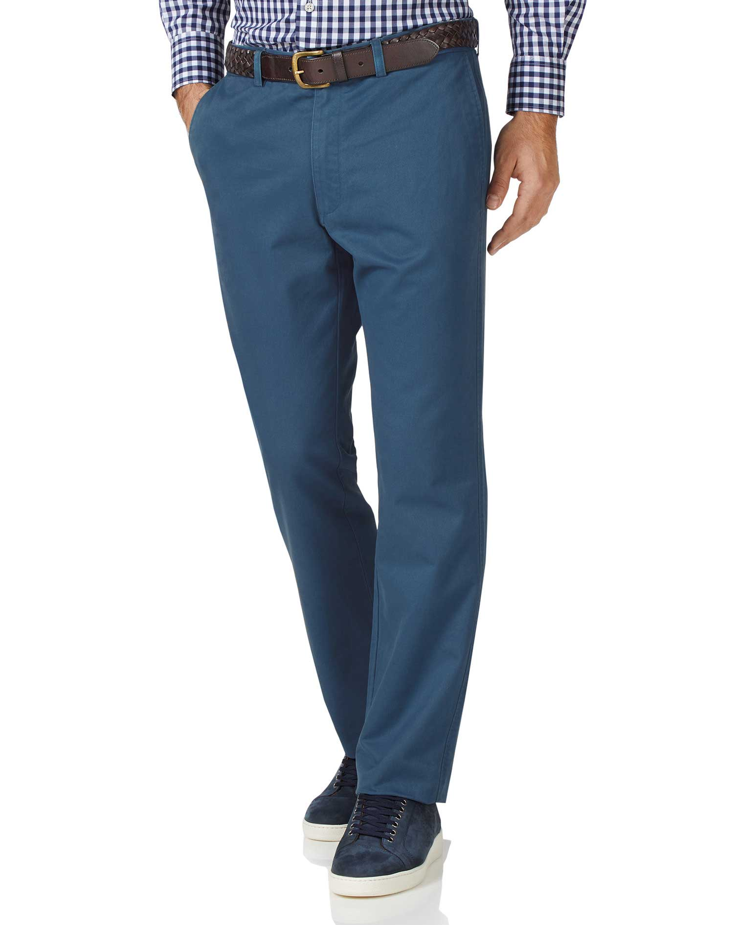 Bright Blue Slim Fit Flat Front Washed Cotton Chino Trousers Size W30 L32 by Charles Tyrwhitt