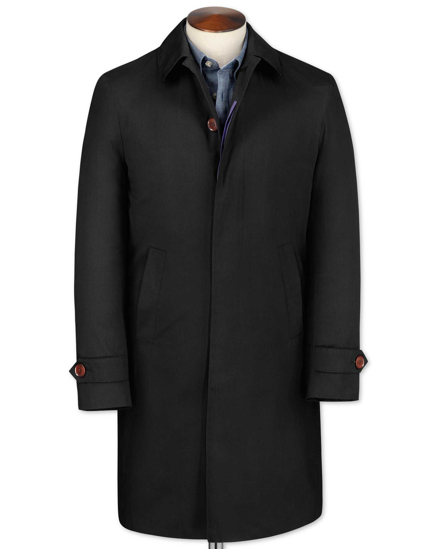 Classic Fit Black RainCotton coat Size 42 Regular by Charles Tyrwhitt