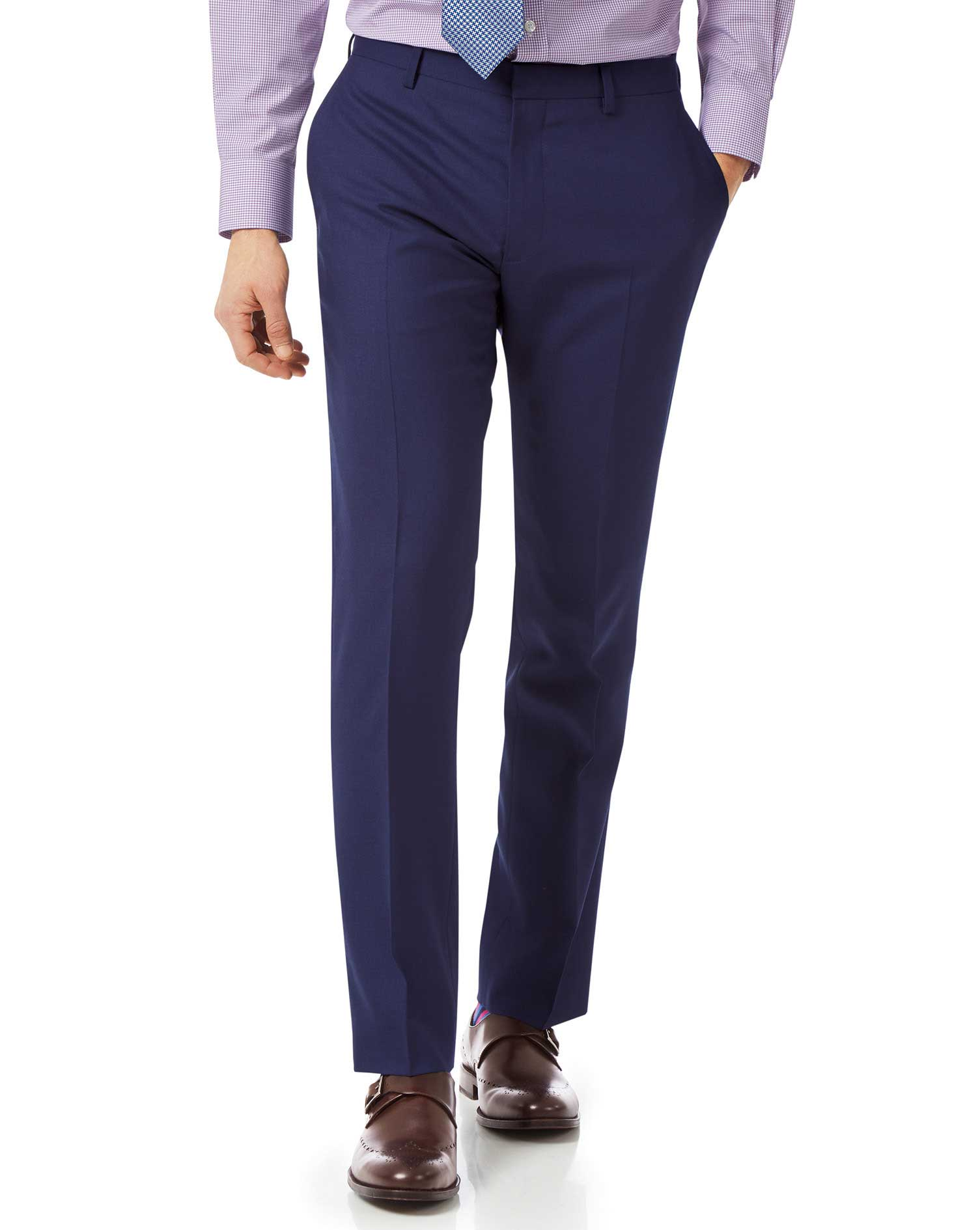 Wool Royal Blue Slim Fit Merino Business Suit Trousers