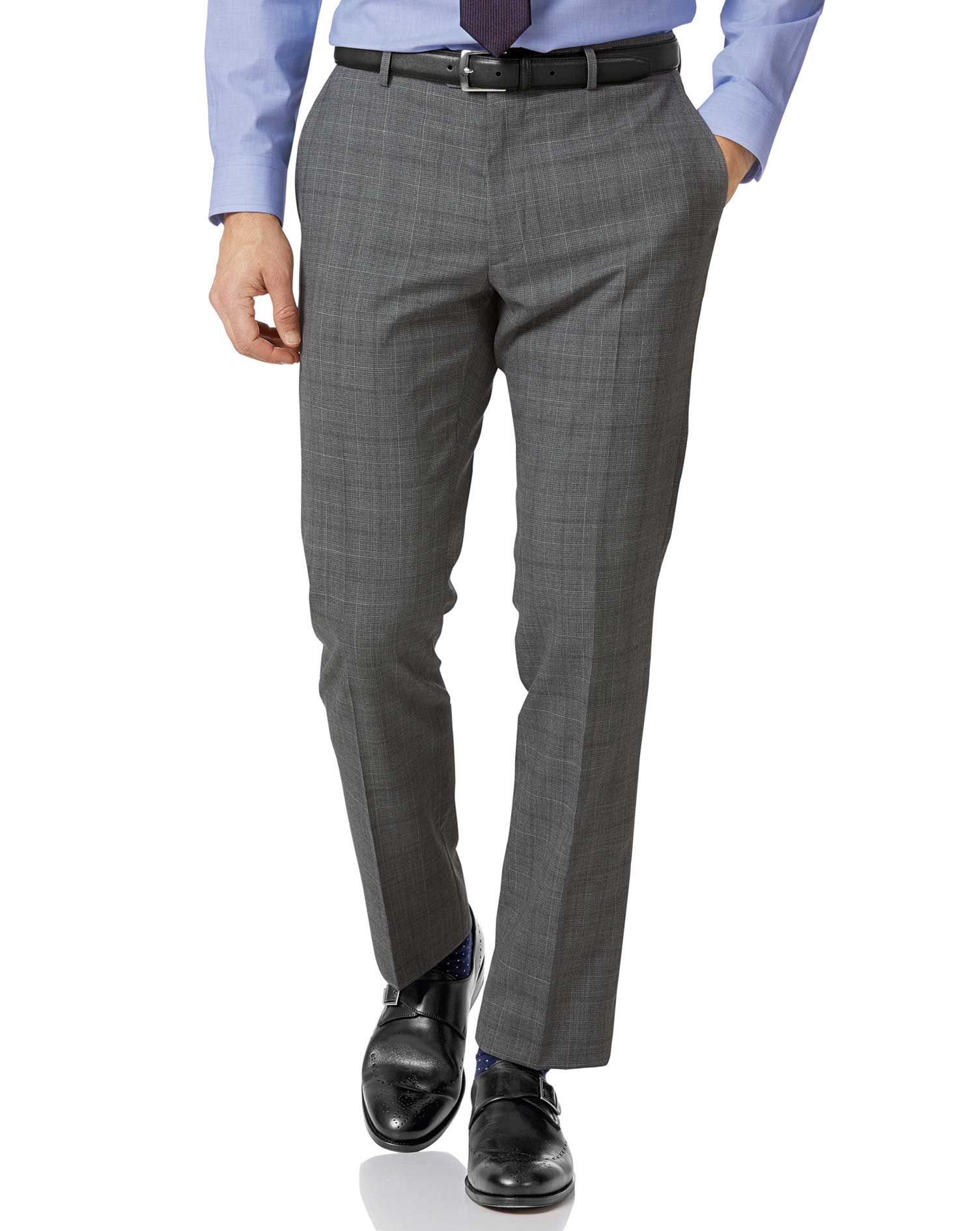 Light Grey Check Slim Fit Twist Business Suit Trouser Size W32 L34 by Charles Tyrwhitt