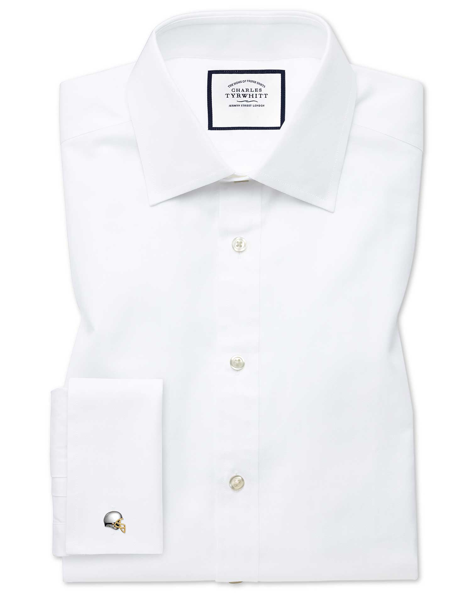 Extra Slim Fit Fine Herringbone White Cotton Formal Shirt Double Cuff Size 17/35 by Charles Tyrwhitt