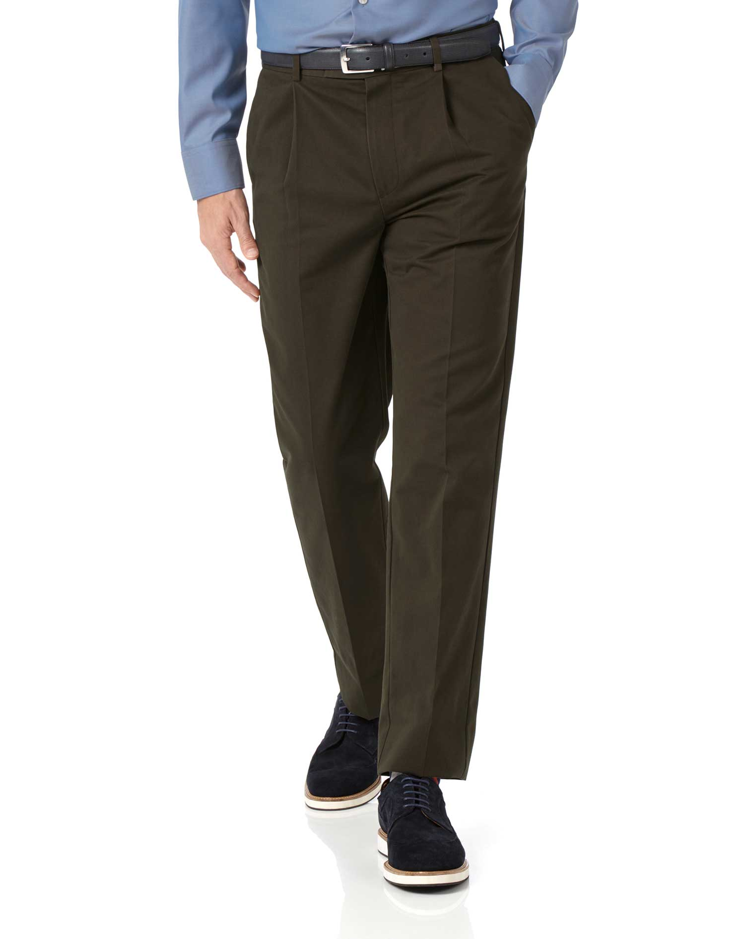 Brown Classic Fit Single Pleat Non-Iron Cotton Chino Trousers Size W40 L34 by Charles Tyrwhitt