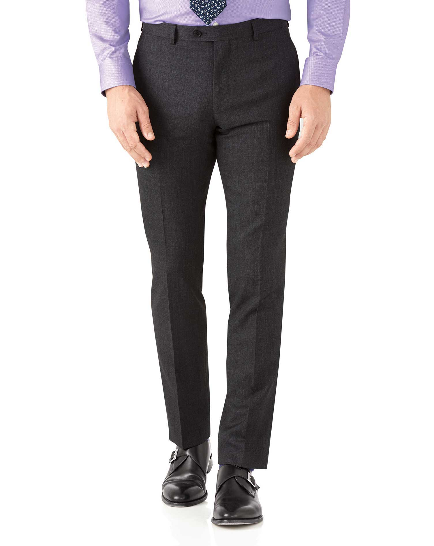 Charcoal Slim Fit Hairline Business Suit Trousers Size W34 L32 by Charles Tyrwhitt