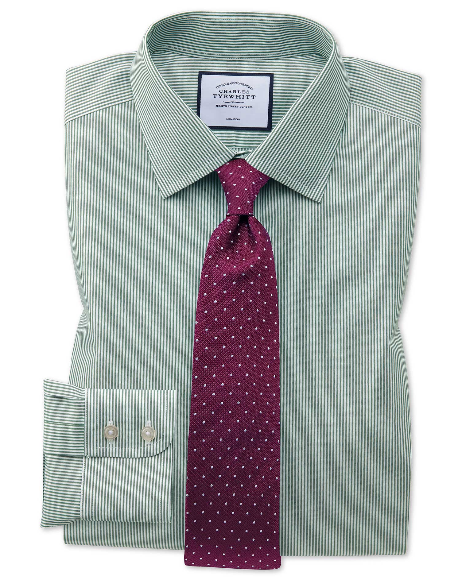 Classic Fit Non-Iron Olive Bengal Stripe Cotton Formal Shirt Double Cuff Size 16.5/34 by Charles Tyr