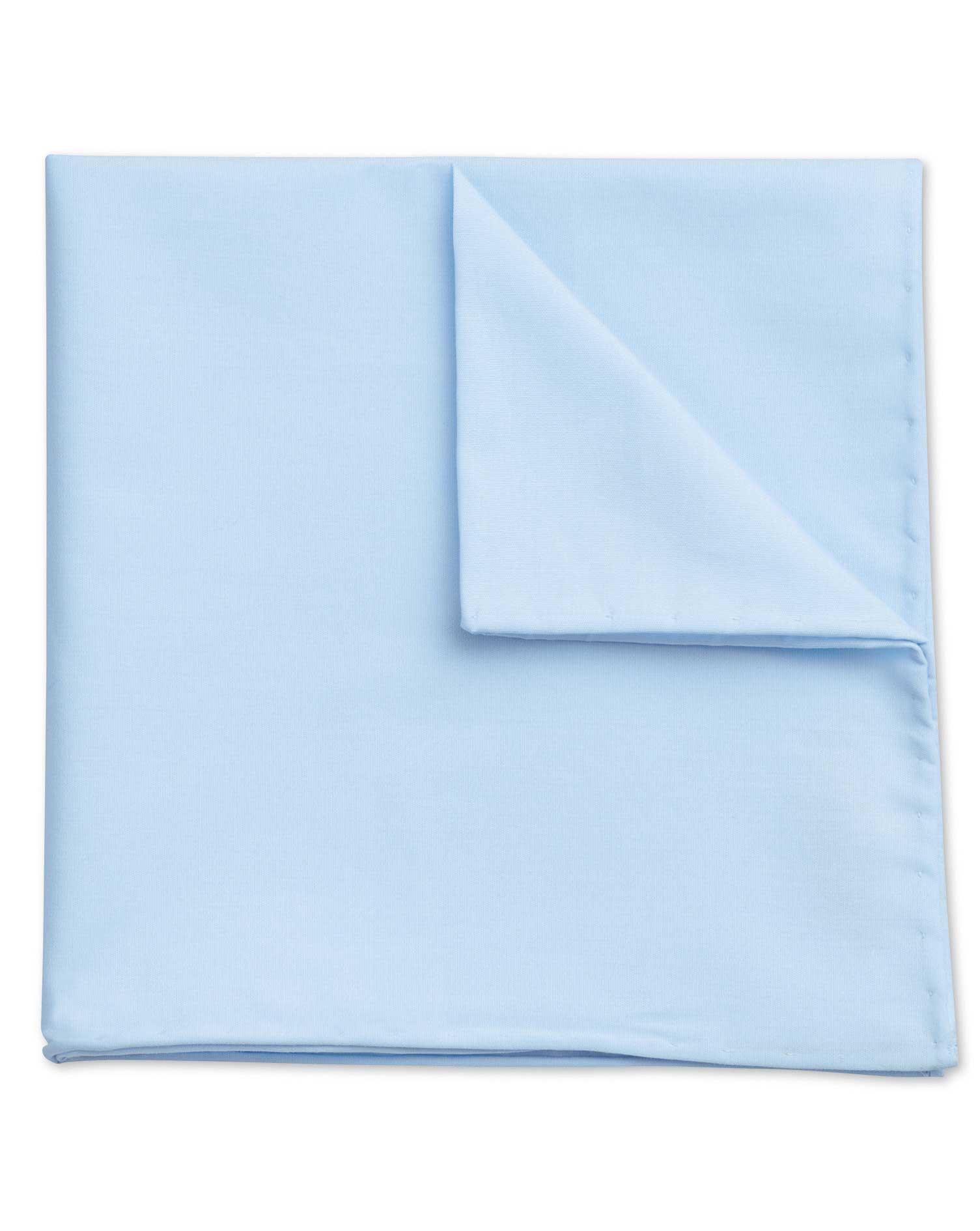 Sky Blue Classic Plain Cotton Pocket Square Size OSFA by Charles Tyrwhitt