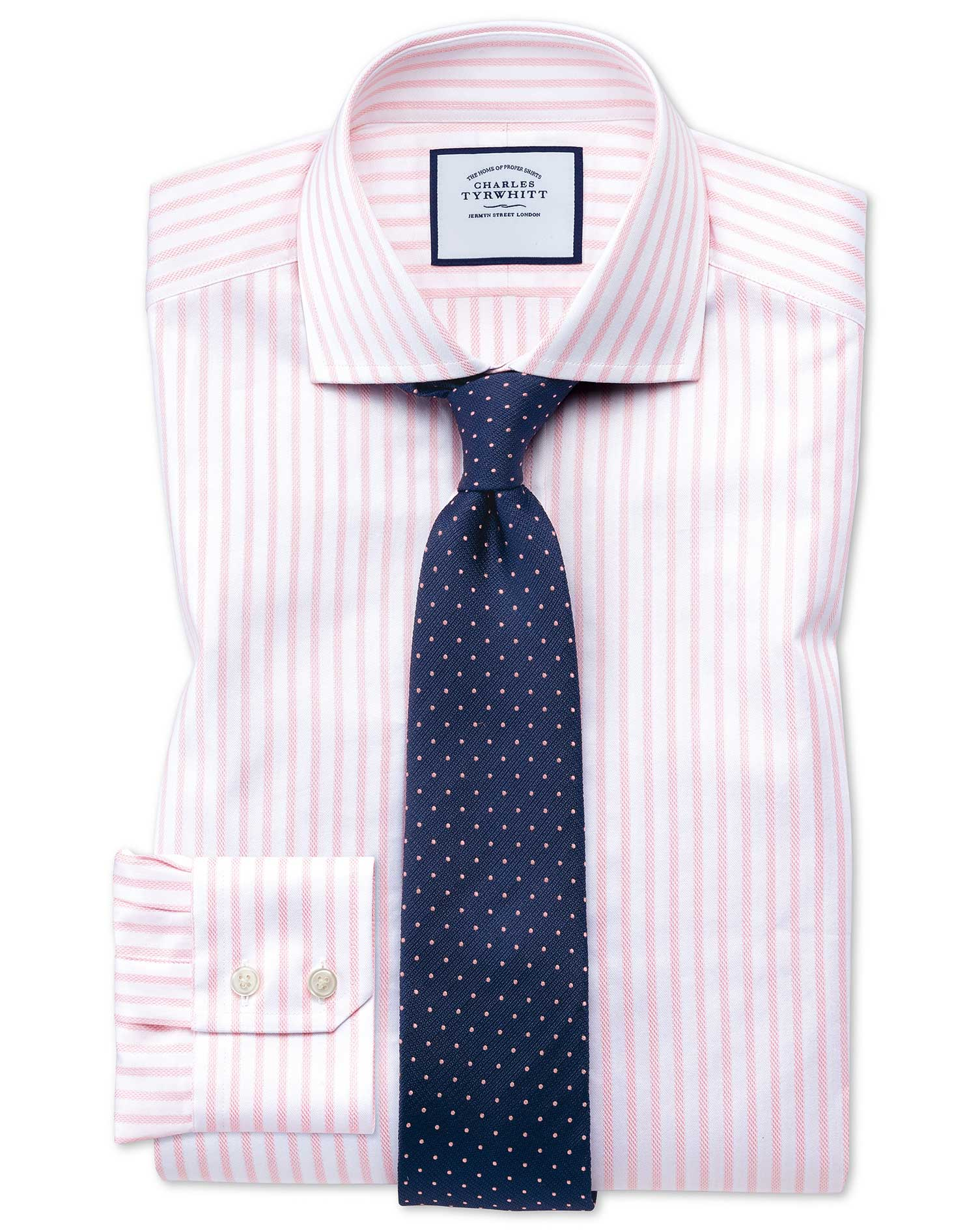 Extra Slim Fit Cutaway Textured Stripe Pink and White Cotton Formal Shirt Single Cuff Size 15.5/33 b