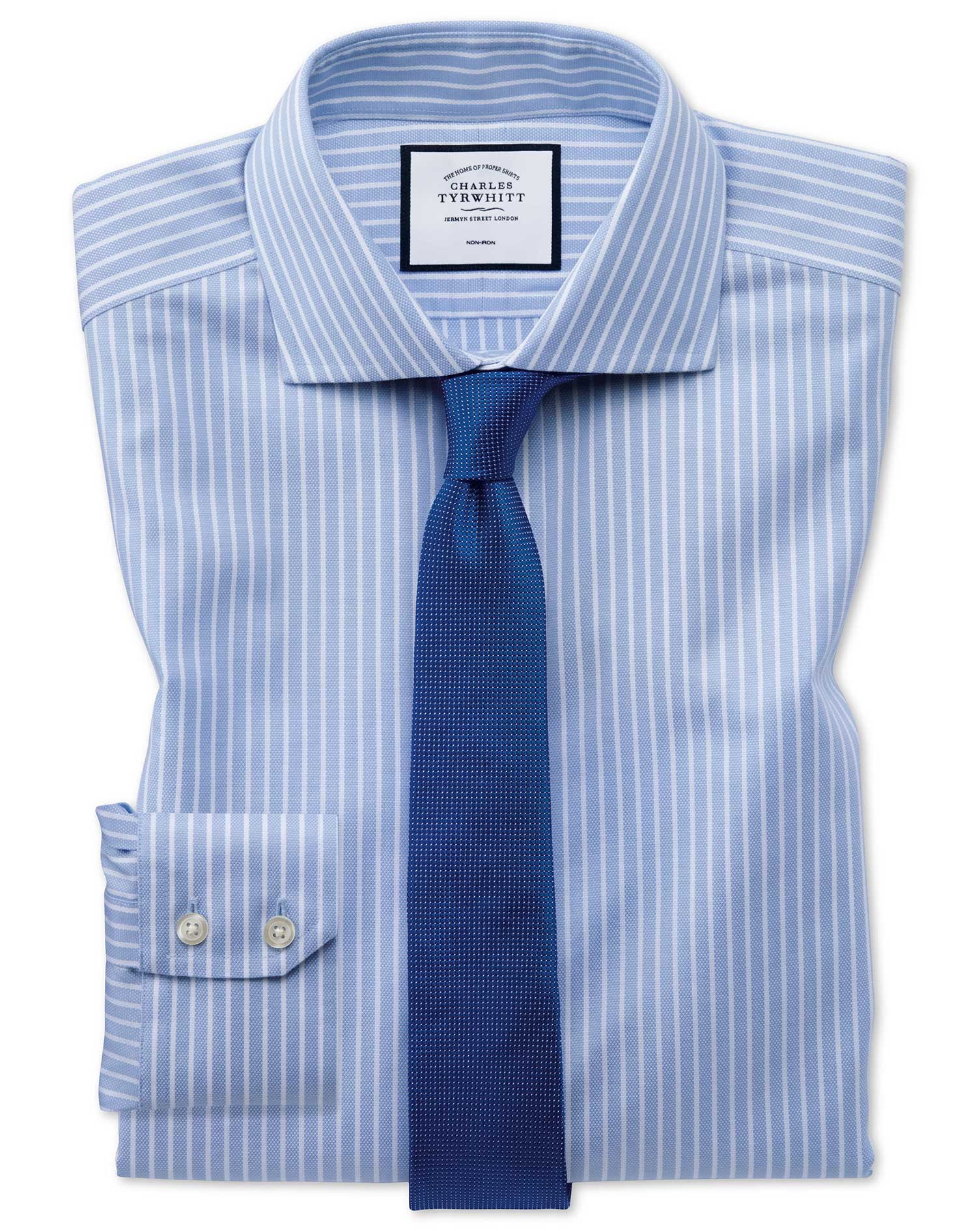 Extra Slim Fit Non-Iron Cotton Stretch Oxford Sky Blue and White Stripe Formal Shirt Single Cuff Siz