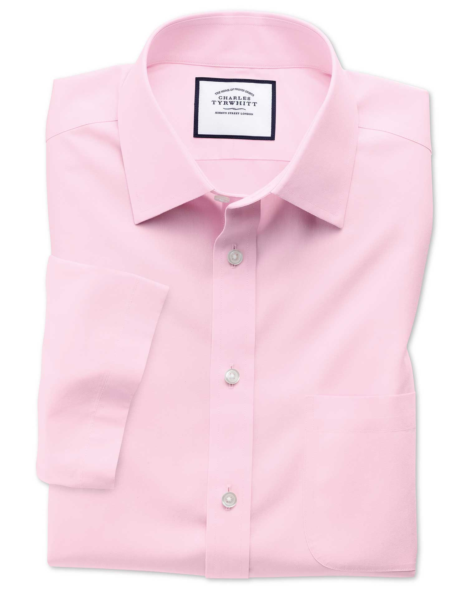 Slim Fit Non-Iron Poplin Short Sleeve Pink Cotton Formal Shirt Size 17.5/Short by Charles Tyrwhitt