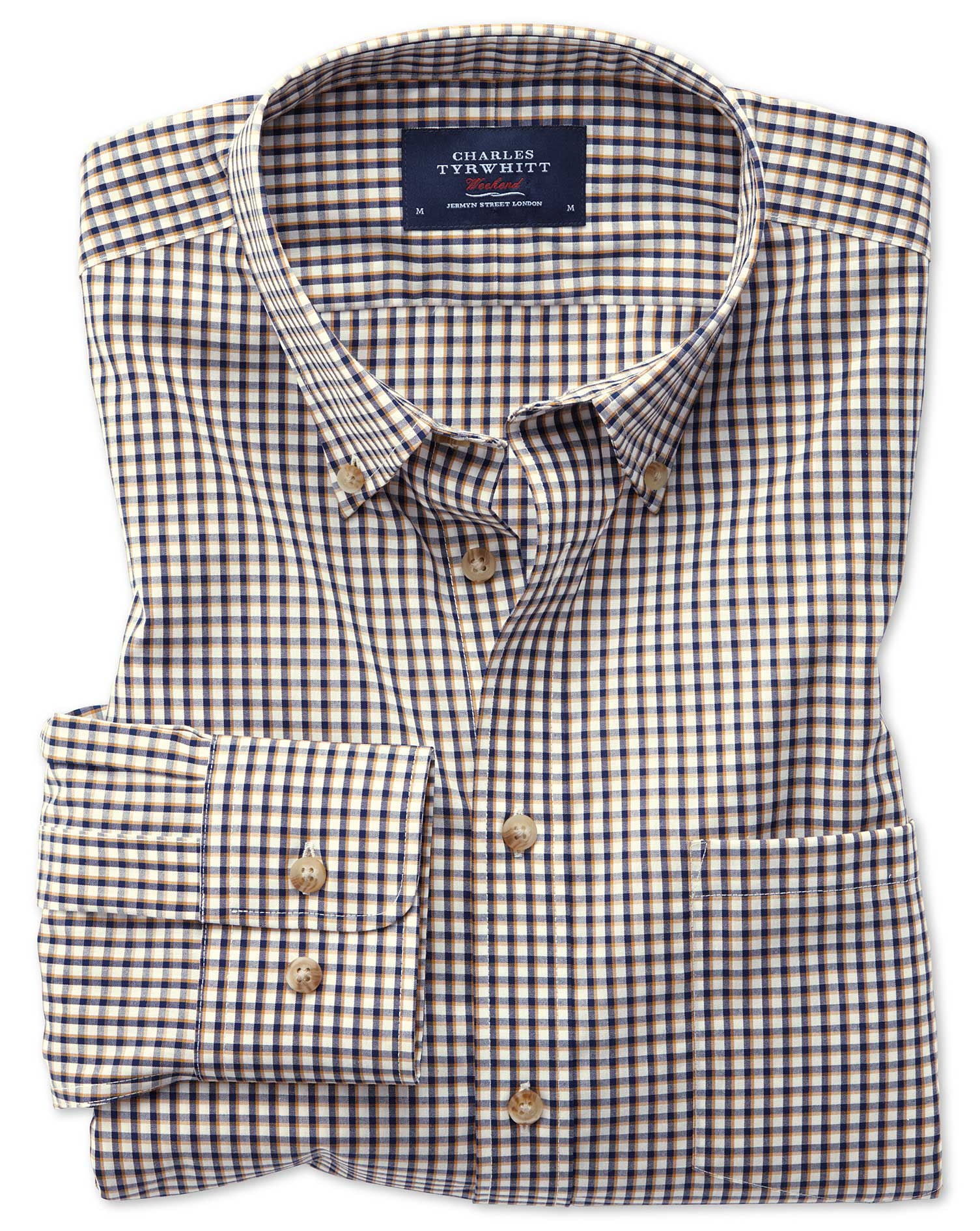 Slim Fit Button-Down Non-Iron Poplin Gold and Blue Gingham Cotton Shirt Single Cuff Size XXL by Char