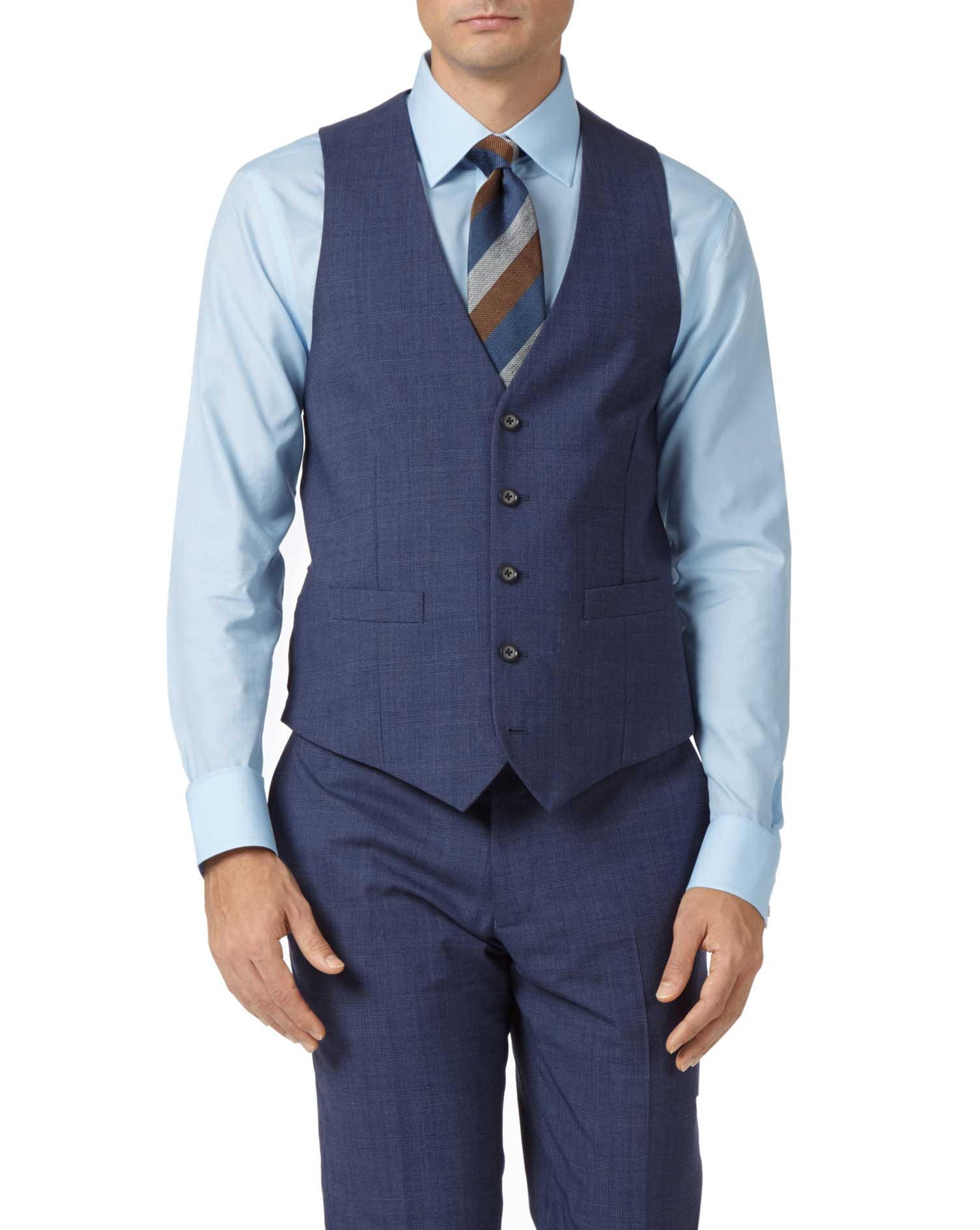 Airforce blue adjustable fit Panama check business suit vest