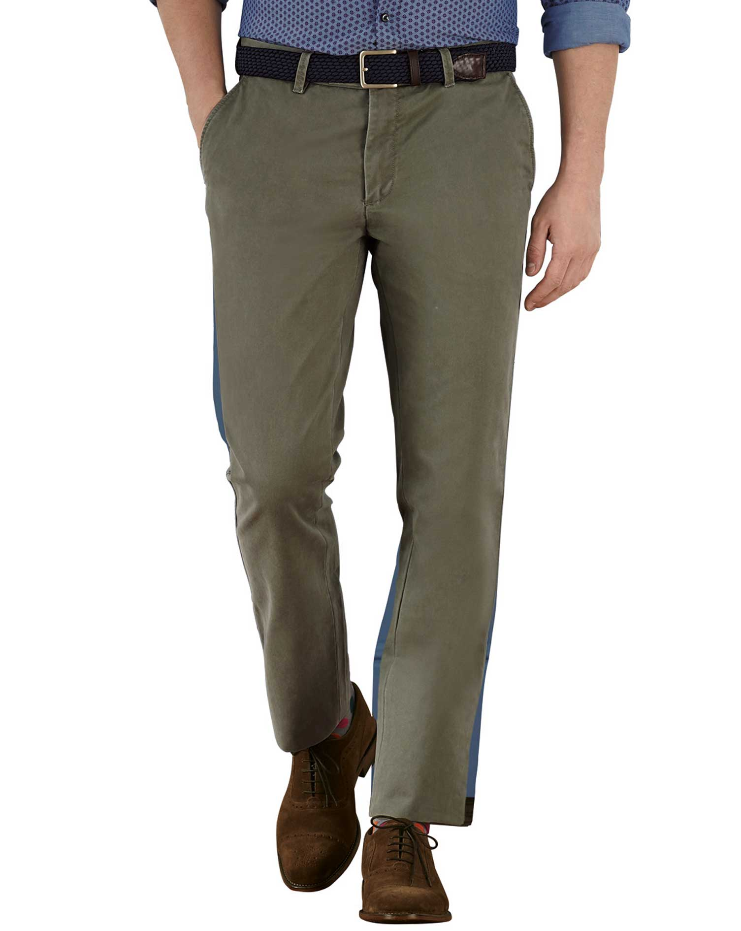 Olive Extra Slim Fit Flat Front Cotton Chino Trousers Size W36 L30 by Charles Tyrwhitt