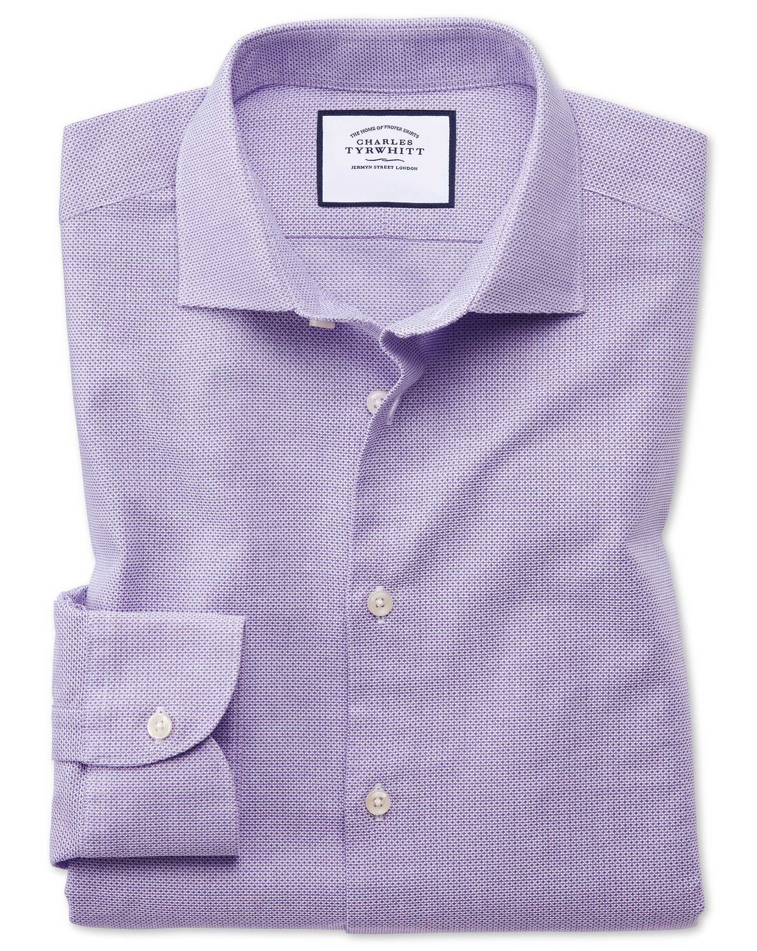 Slim Fit Business Casual Leno Texture Lilac Cotton Formal Shirt Single Cuff Size 16.5/35 by Charles