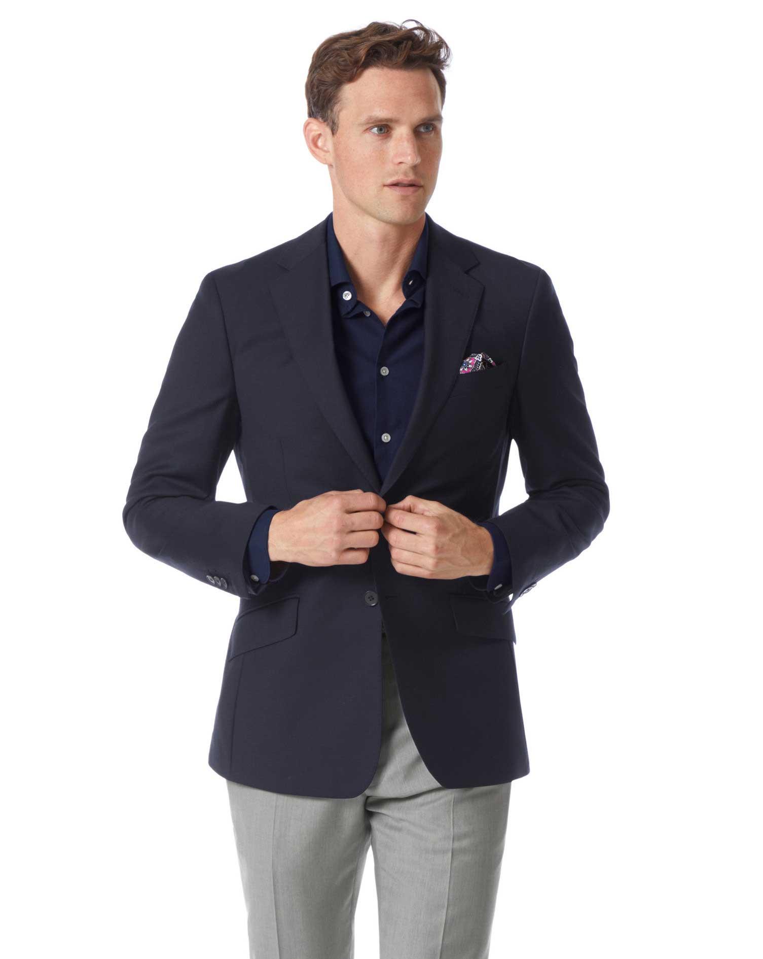 Slim Fit Navy Wool Perfect Blazer Size 36 Regular by Charles Tyrwhitt