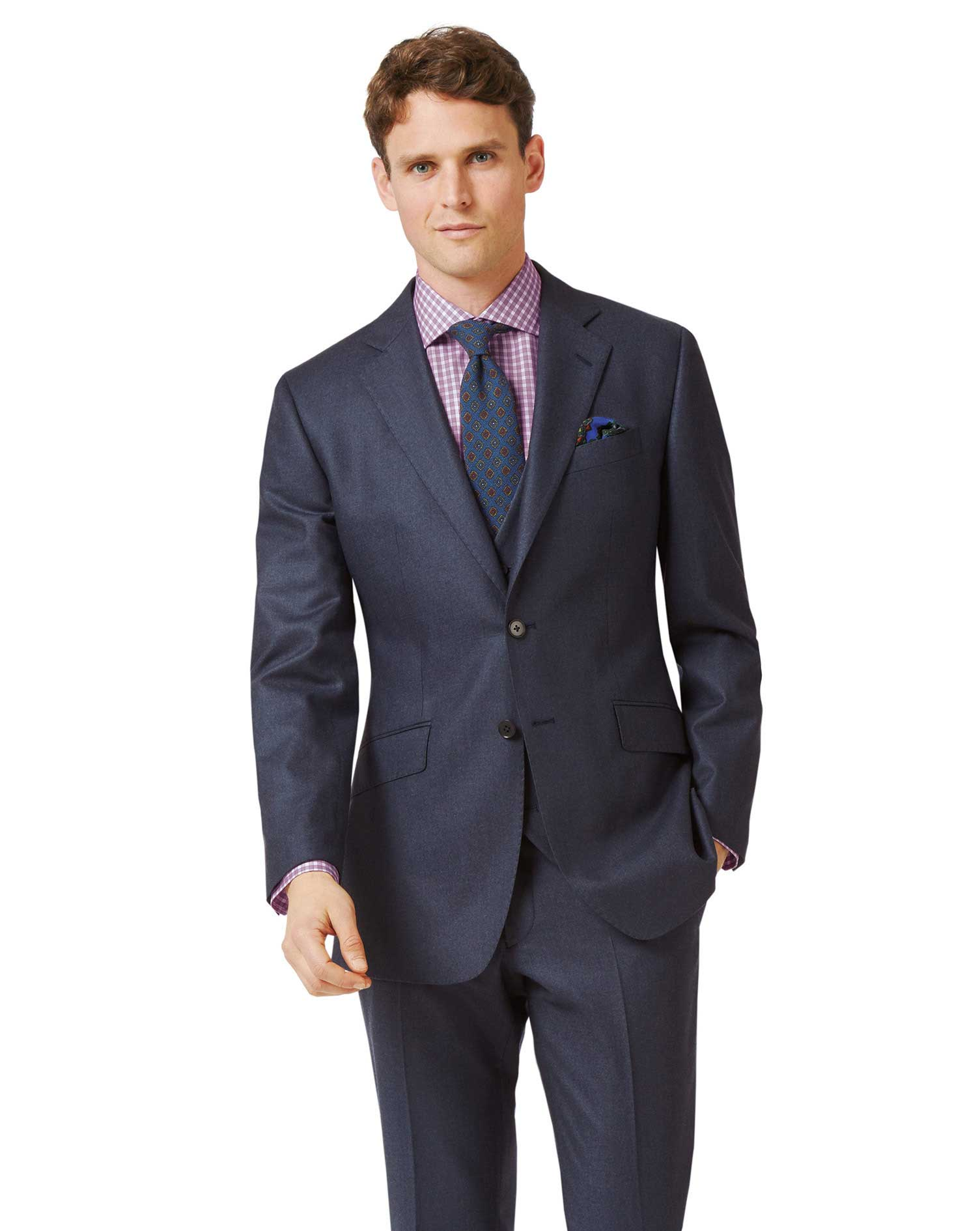 Image of Charles Tyrwhitt Airforce Blue Slim Fit Flannel Business Suit Wool Jacket Size 36 Regular by Charles Tyrwhitt