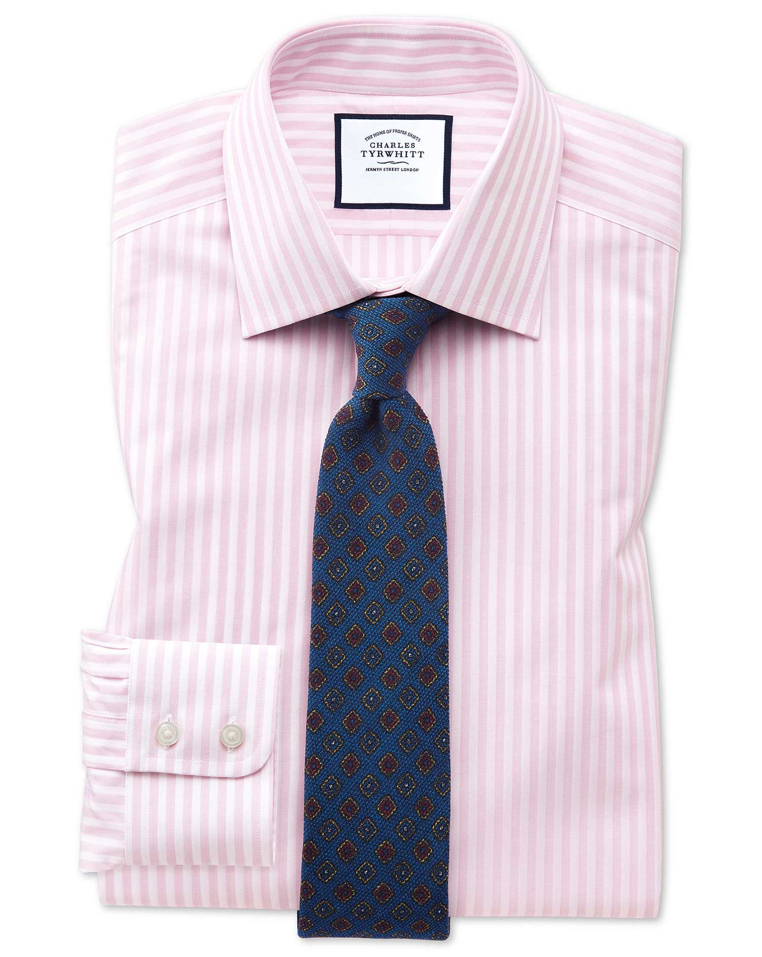 Slim Fit Pink and White Dobby Textured Stripe Cotton Formal Shirt Single Cuff Size 16/34 by Charles