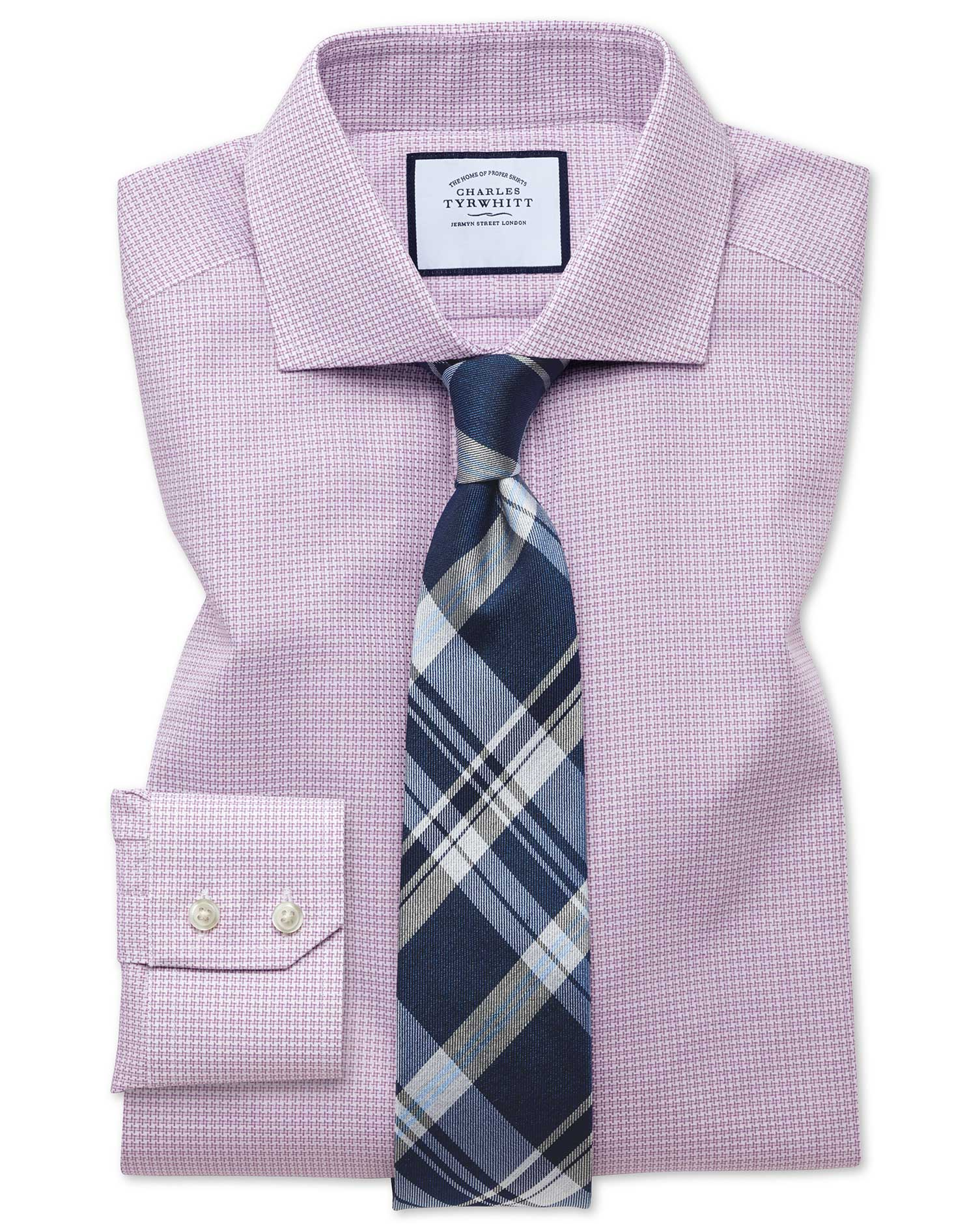 Slim Fit Textured Puppytooth Pink Cotton Formal Shirt Single Cuff Size 15.5/33 by Charles Tyrwhitt