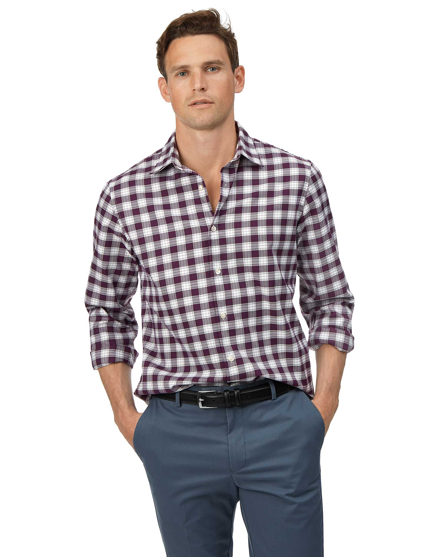 Slim Fit Soft Washed Non-Iron Stretch Oxford Berry and White Check Cotton Shirt Single Cuff Size Med