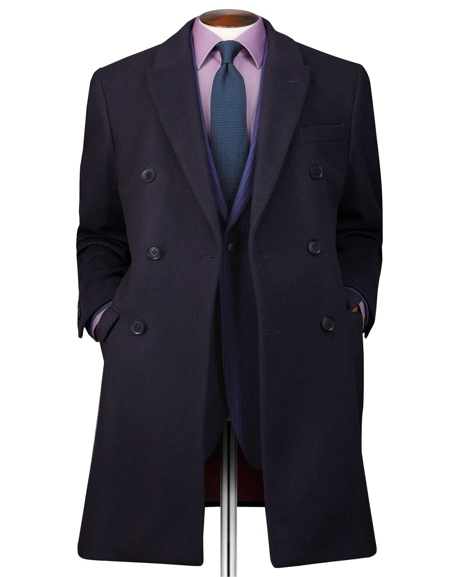 Navy Wool and Cashmere Double Breasted Epsom Overcoat Size 46 Regular by Charles Tyrwhitt