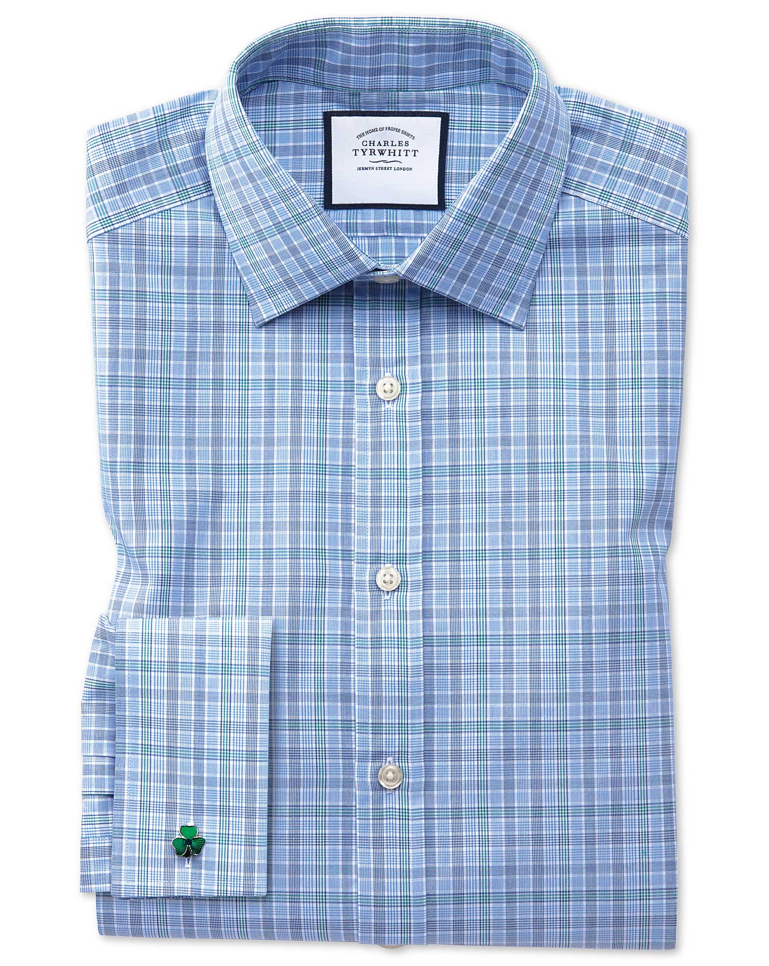 Classic Fit Blue and Green Prince Of Wales Check Cotton Formal Shirt Double Cuff Size 15.5/34 by Cha